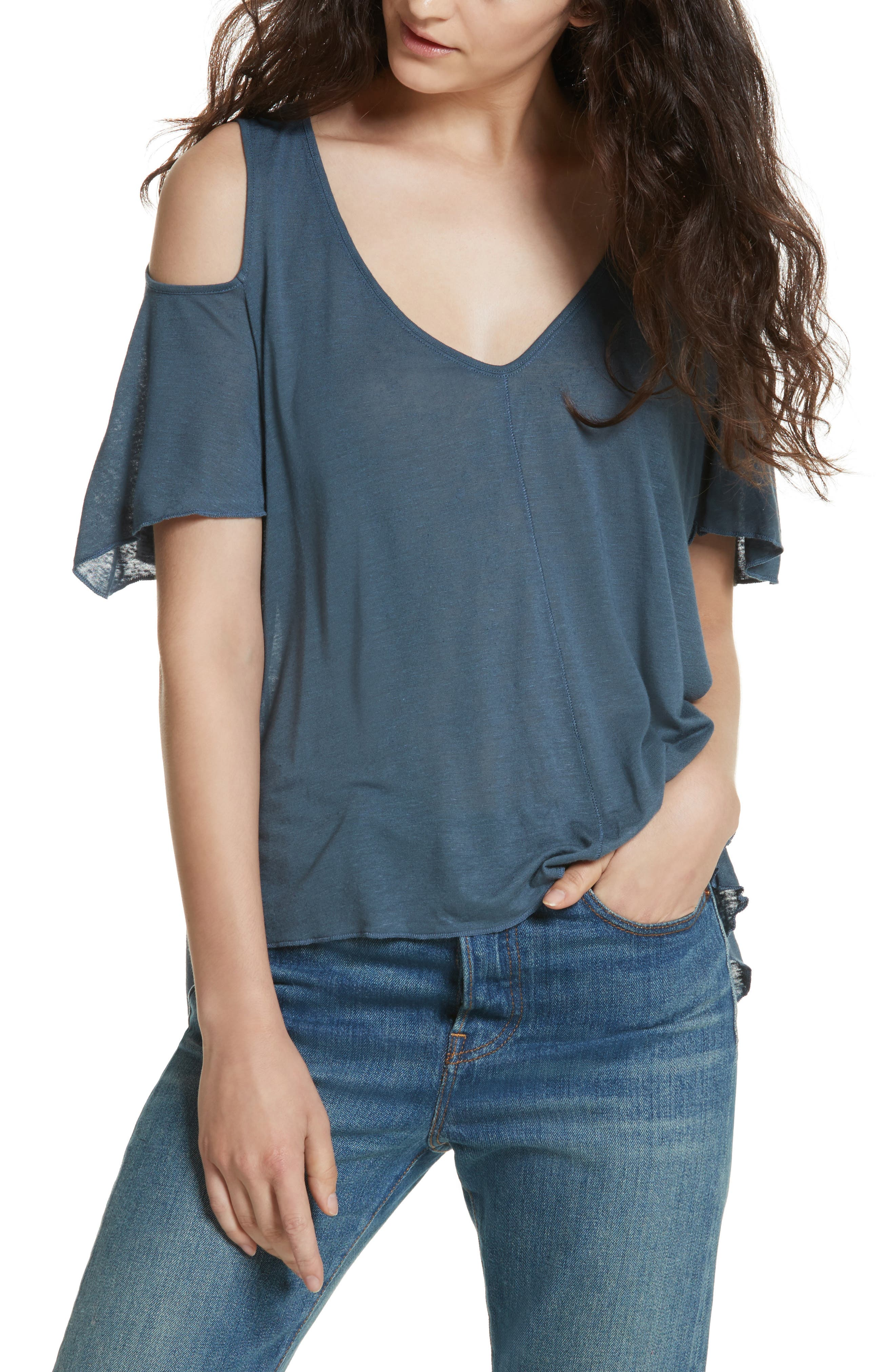 Bittersweet Cold Shoulder Top,                             Main thumbnail 1, color,                             Blue