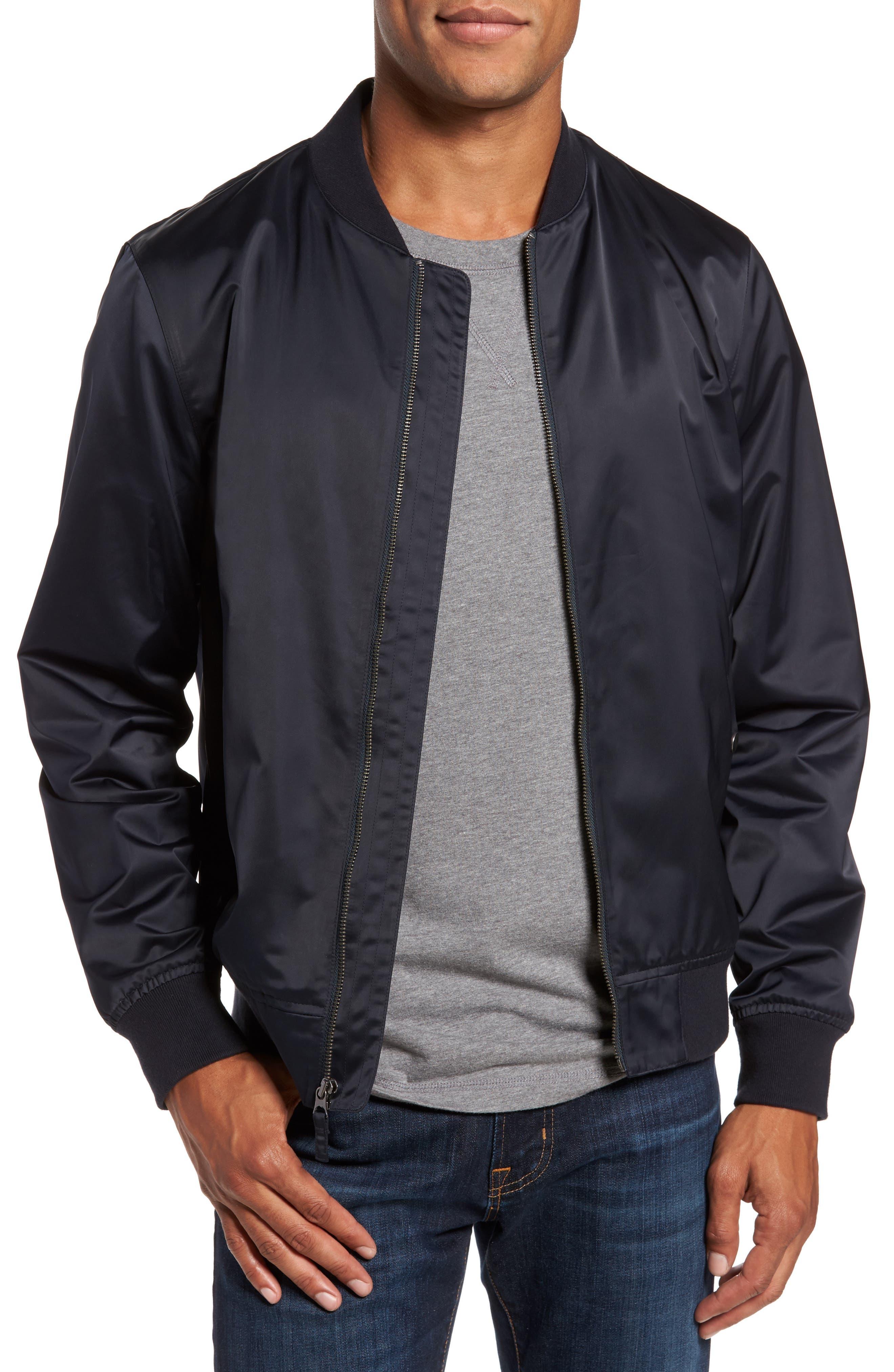 Moto Bomber Jacket,                         Main,                         color, Navy