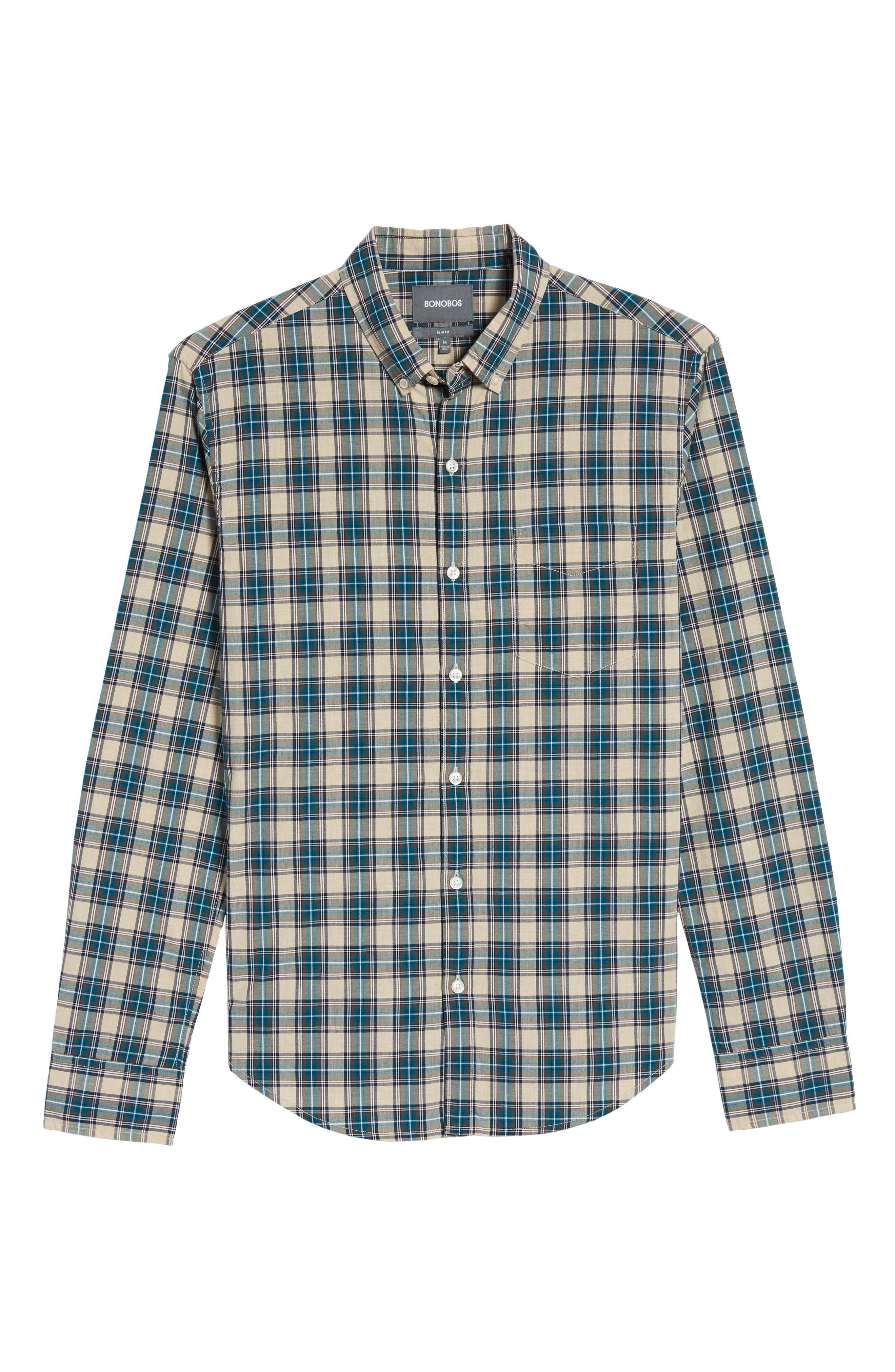 Washed Slim Fit Plaid Sport Shirt,                             Alternate thumbnail 6, color,                             Blue Plaid