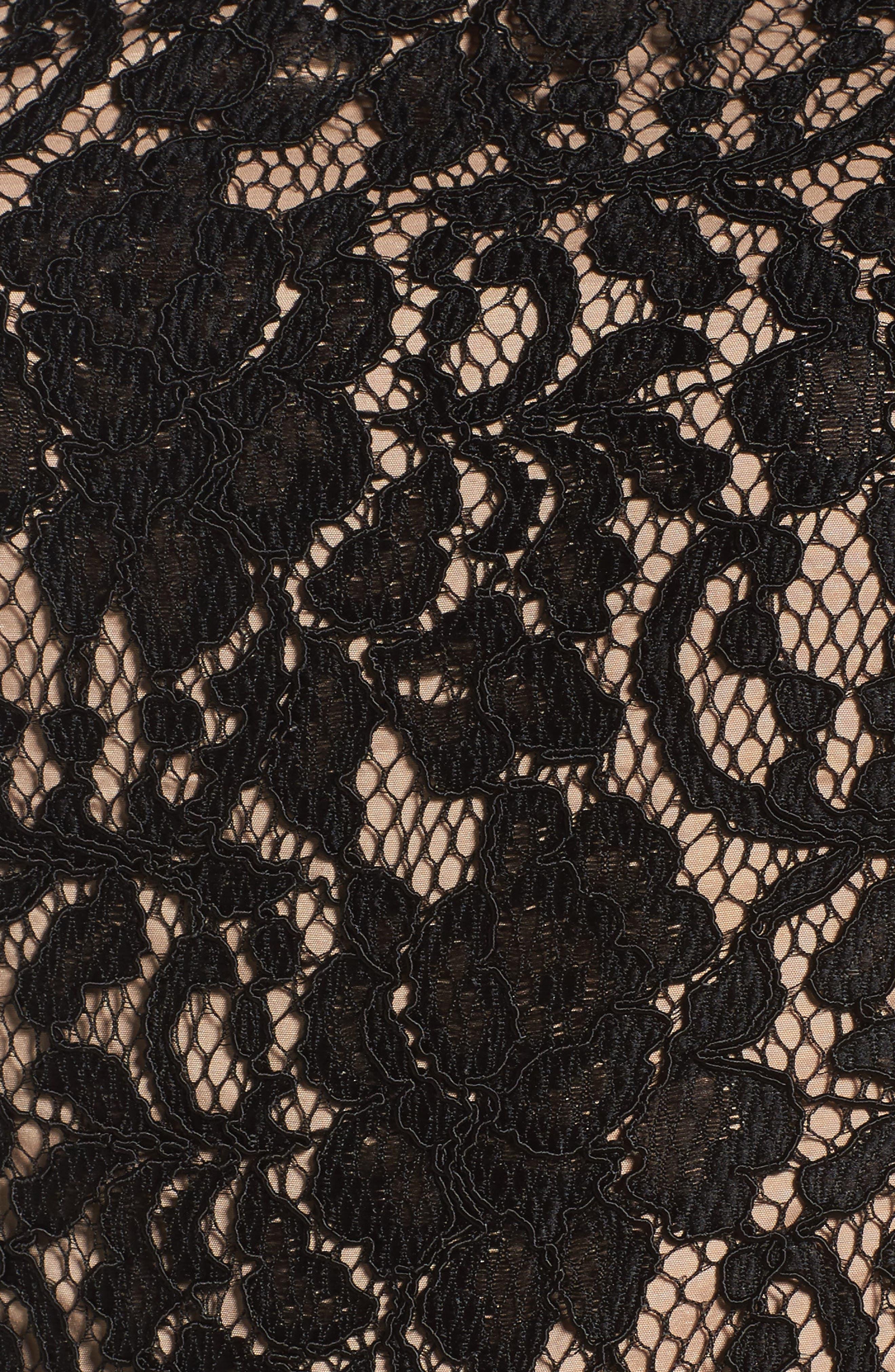 Lace Jumpsuit,                             Alternate thumbnail 5, color,                             Black/ Nude