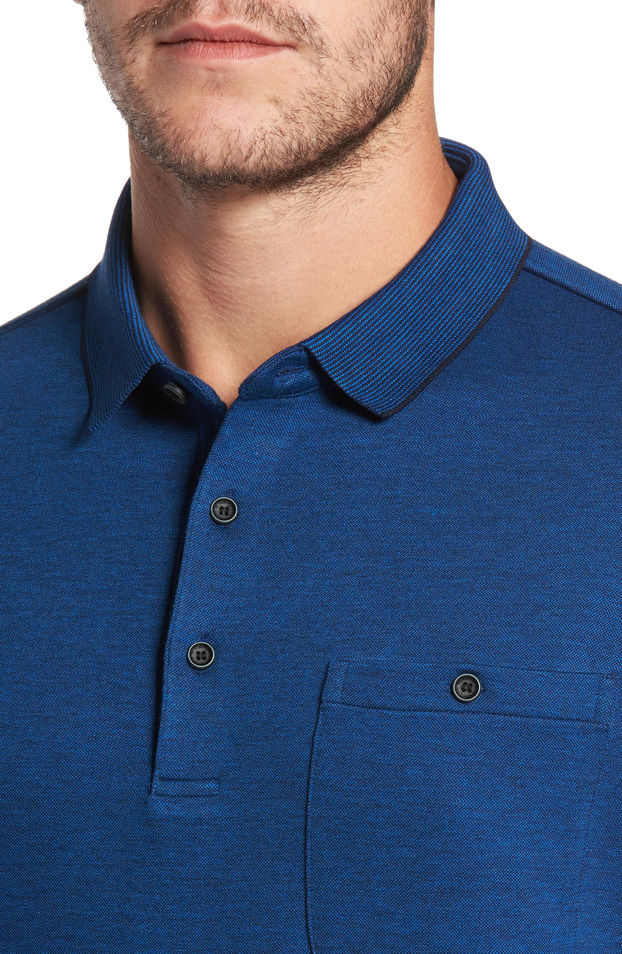 Classic Fit Piqué Polo,                             Alternate thumbnail 4, color,                             Night Blue