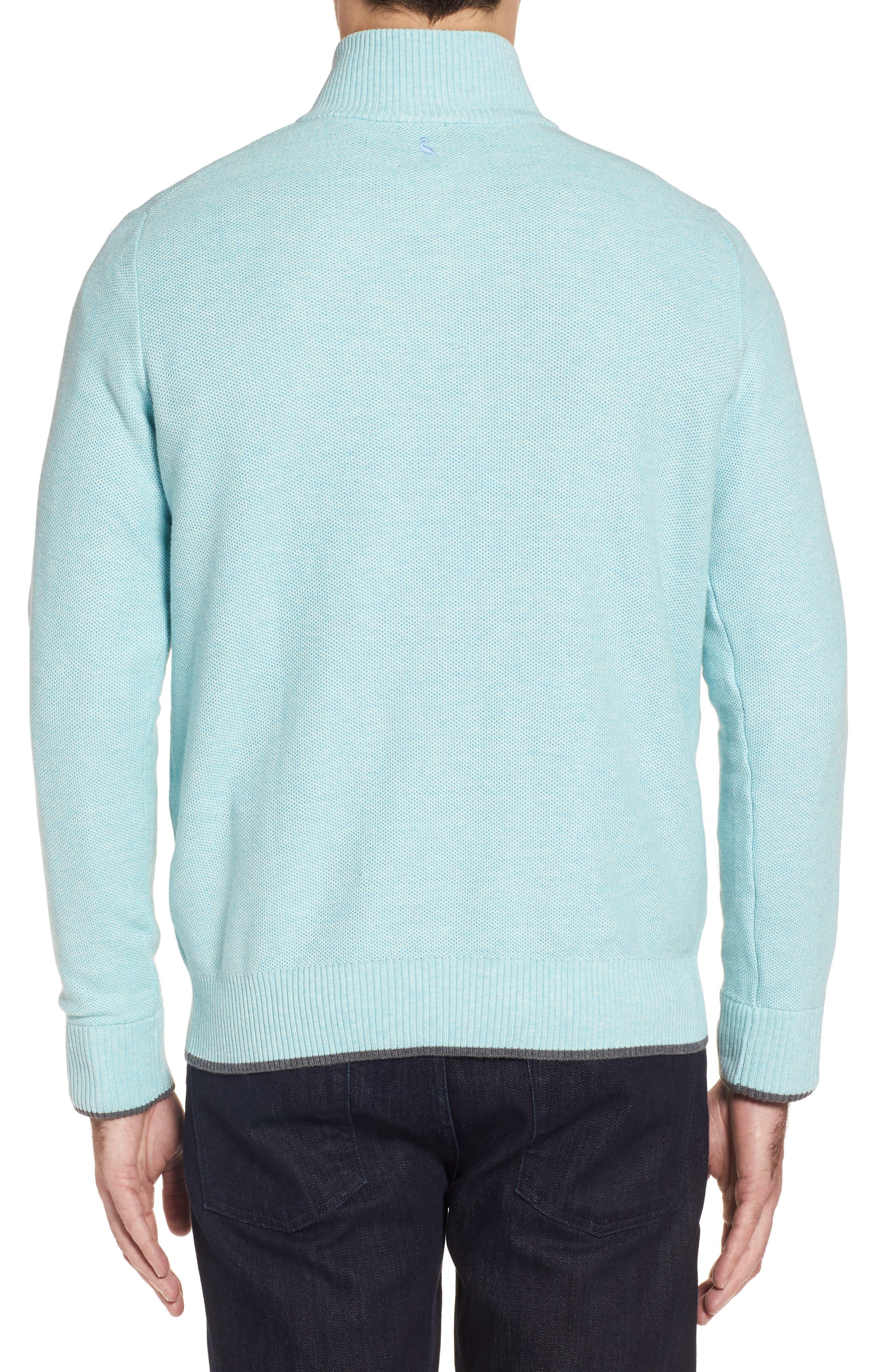 Starks Tipped Quarter Zip Sweater,                             Alternate thumbnail 2, color,                             Aqua