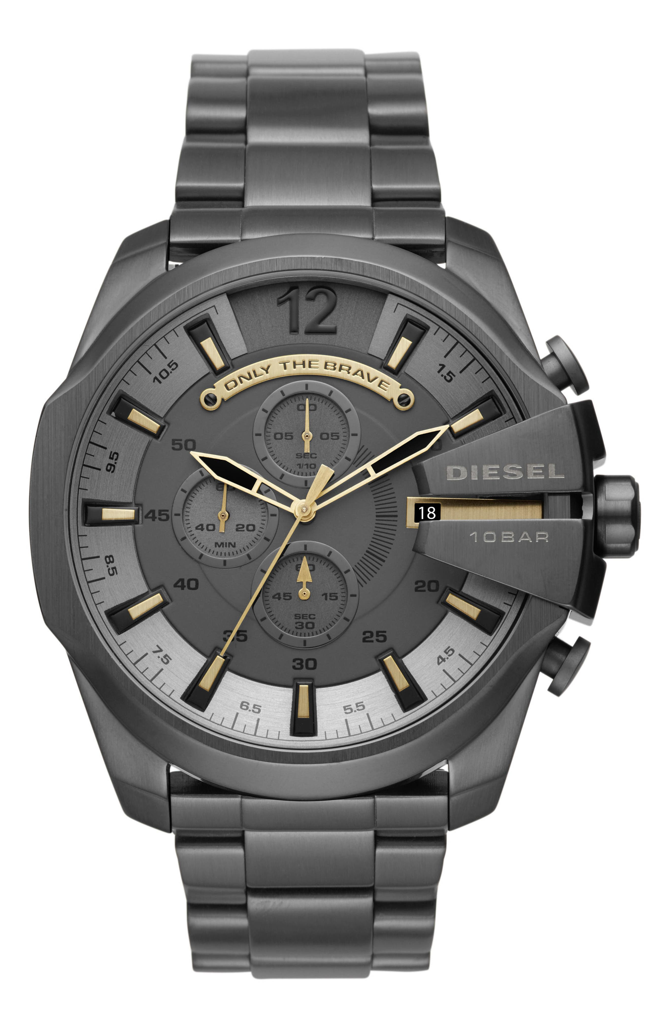 DIESEL Mega Chief Chronograph Bracelet Watch, 51mm x 59mm,                         Main,                         color, Ip/ Gunmetal
