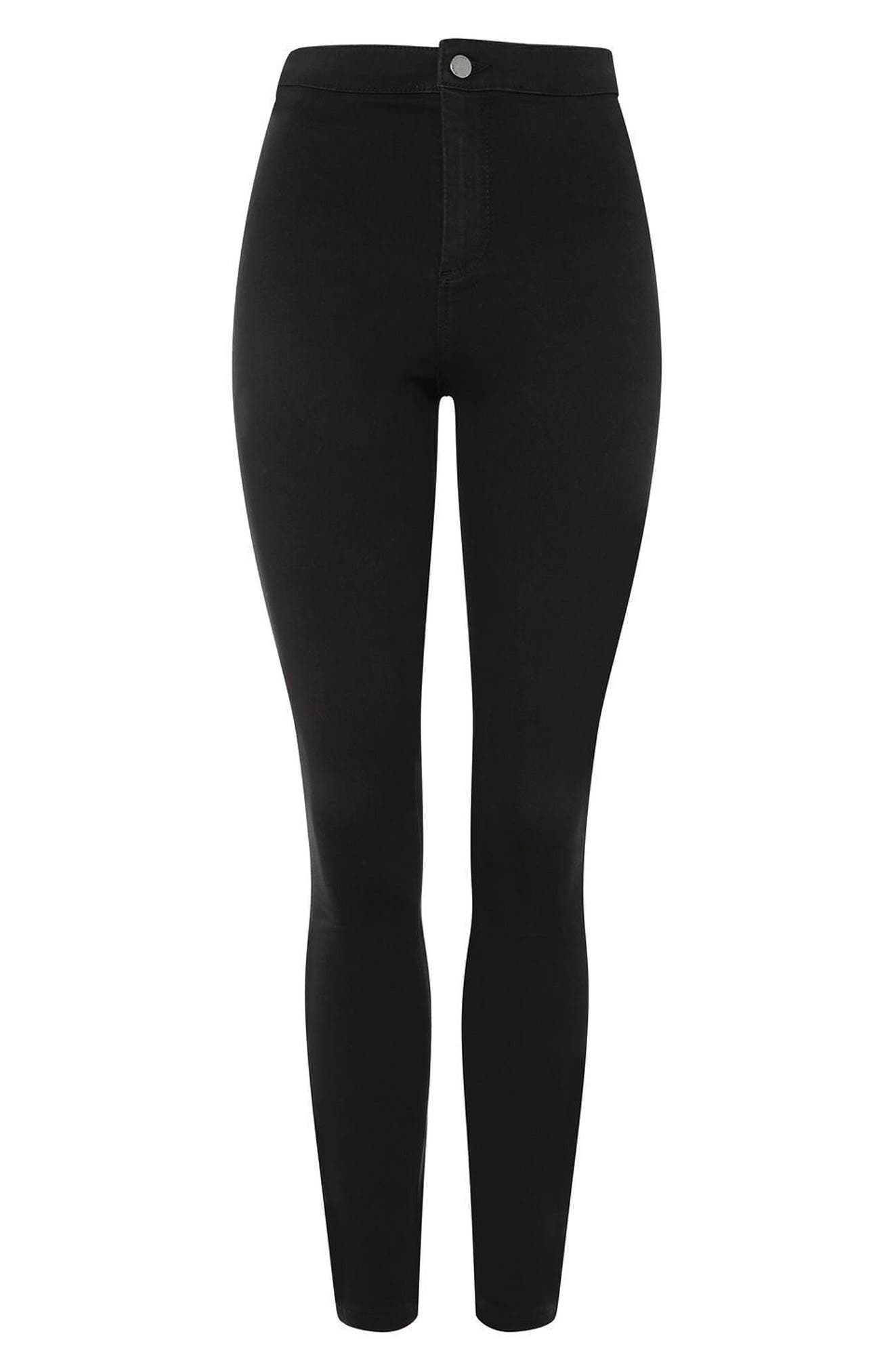 Joni High Waist Skinny Jeans,                             Alternate thumbnail 3, color,                             Black