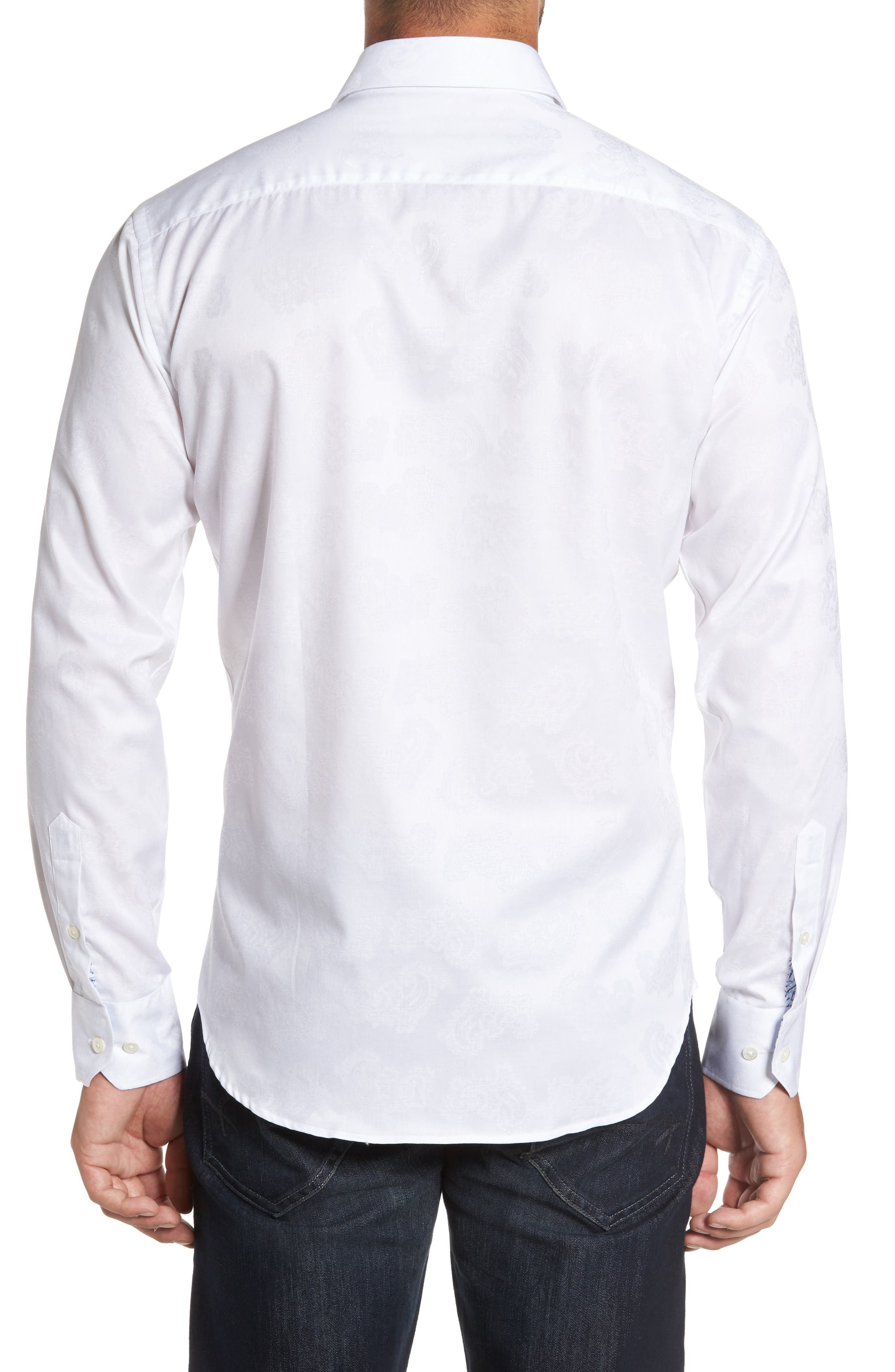 Alternate Image 2  - Bugatchi Trim Fit Floral Jacquard Sport Shirt