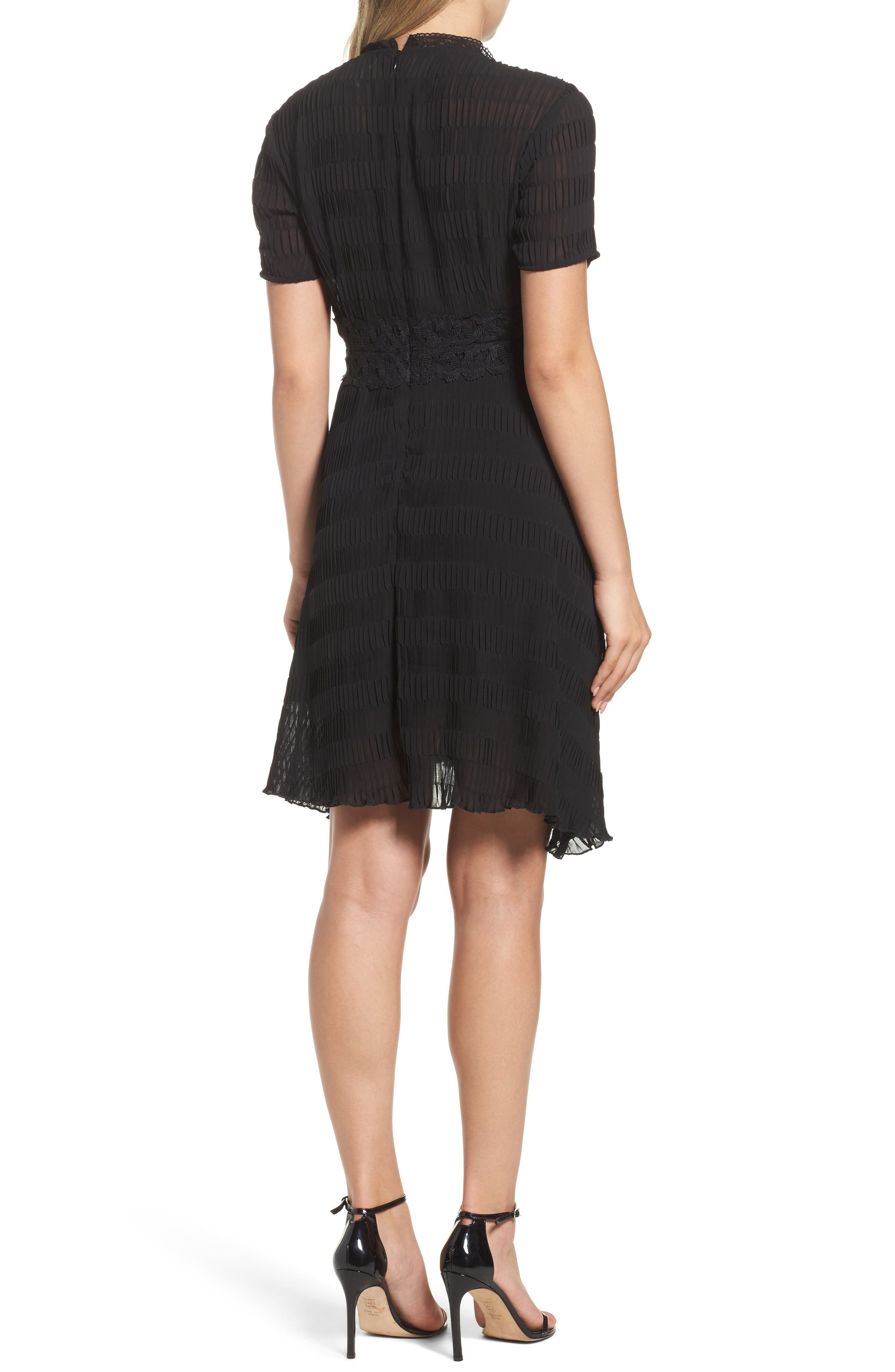 Isadora Lace Trim Pintuck Fit & Flare Dress,                             Alternate thumbnail 2, color,                             Black