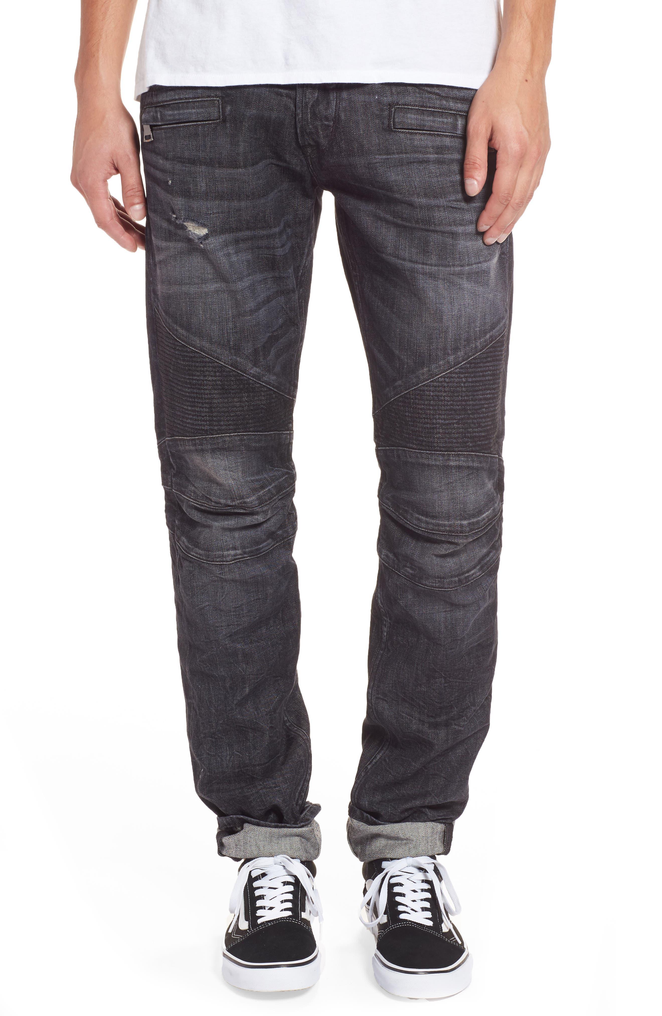 Blinder Biker Moto Skinny Fit Jeans,                         Main,                         color, Damage