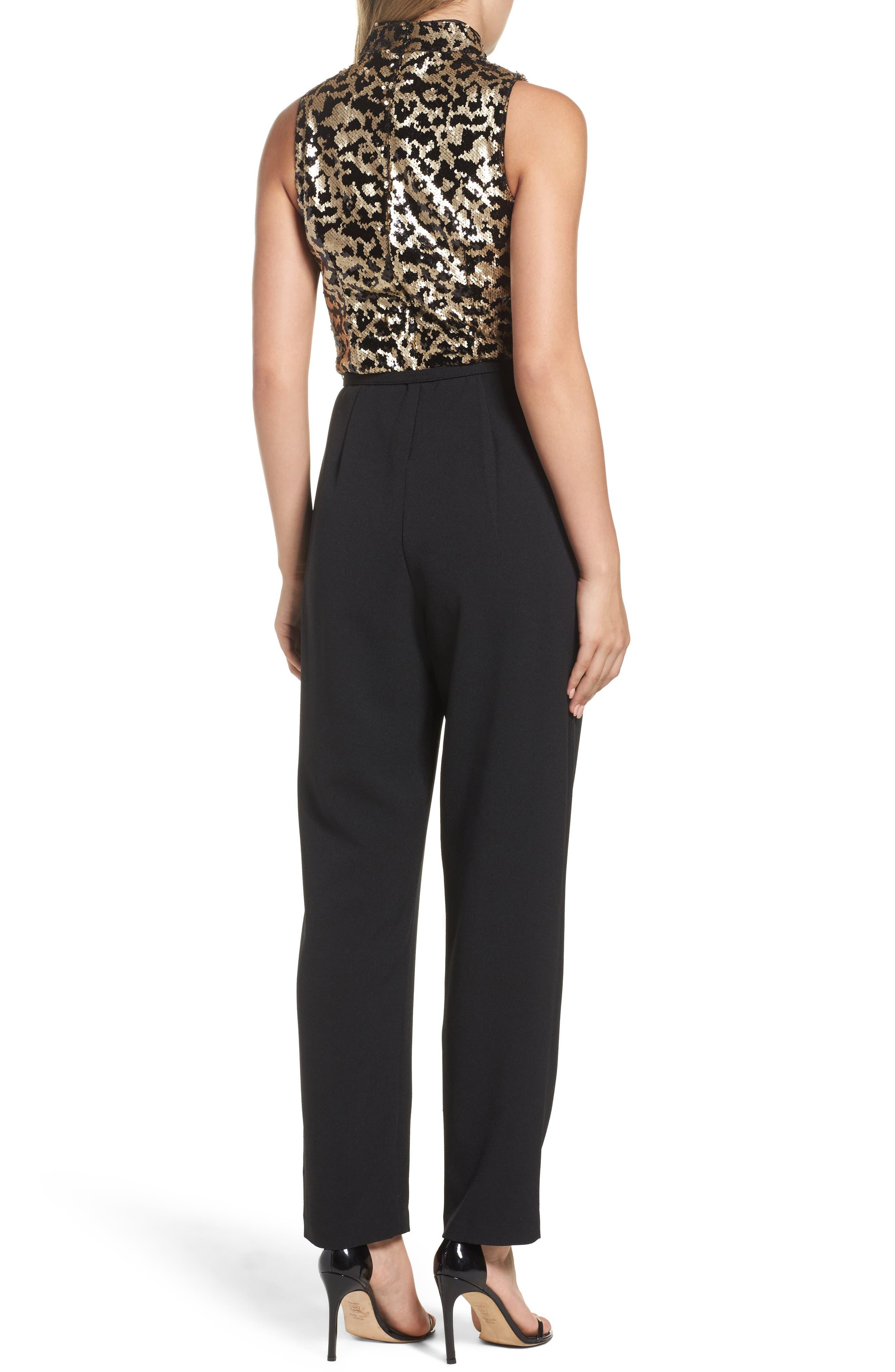 Sequin Leopard Bodice Belted Jumpsuit,                             Alternate thumbnail 2, color,                             Black Gold