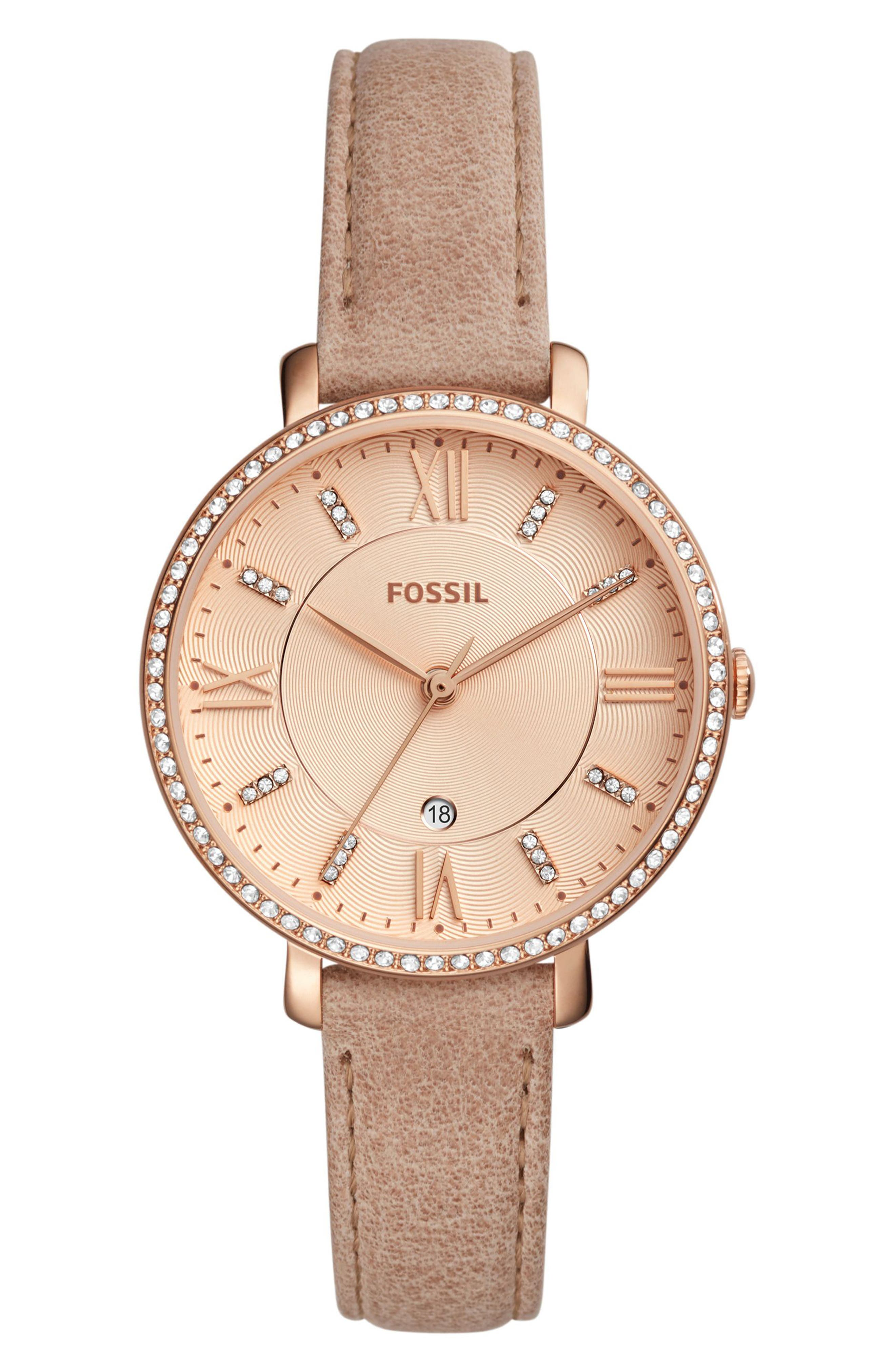 Jacqueline Leather Strap Watch, 36mm,                         Main,                         color, Beige/ Rose Gold