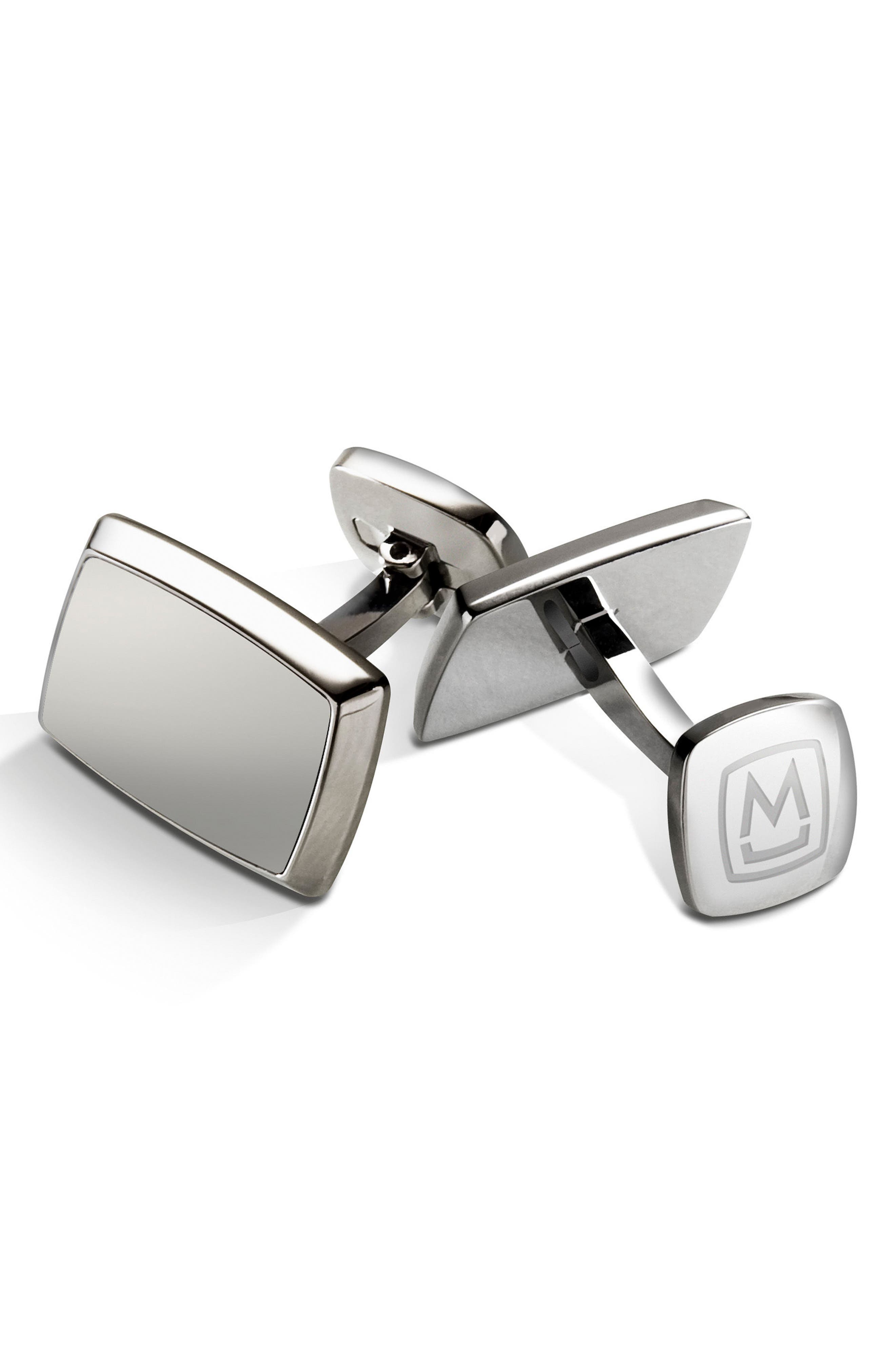 M-Clip Stainless Steel Cuff Links,                         Main,                         color, Silver
