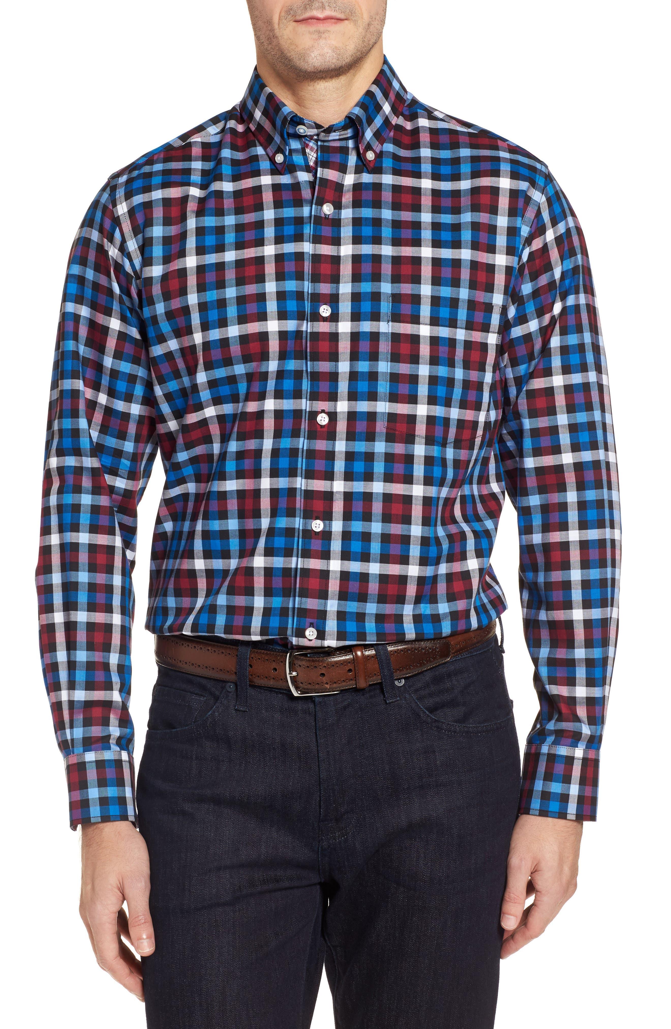 Brusly Regular Fit Gingham Sport Shirt,                             Main thumbnail 1, color,                             Black