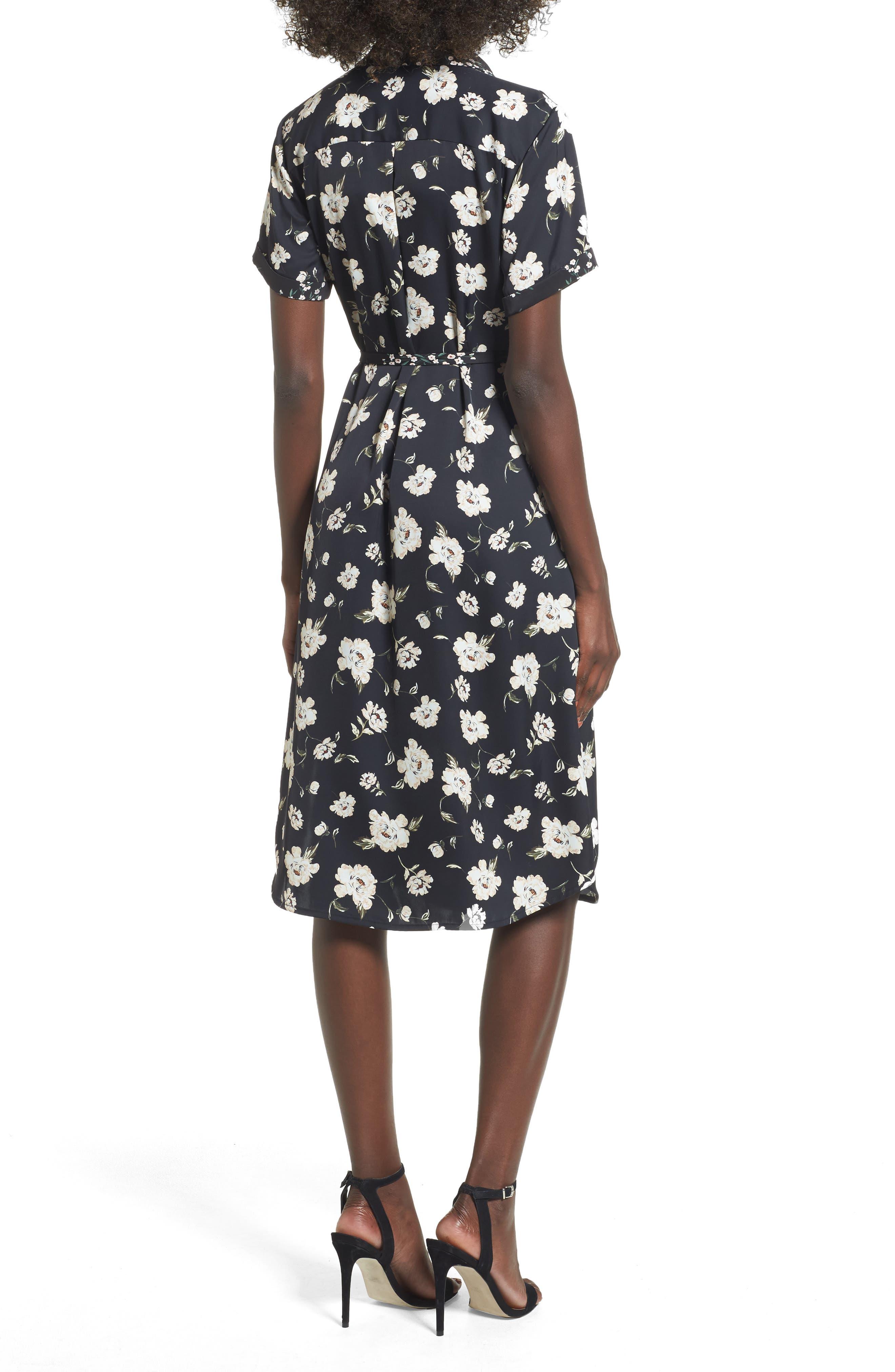 L'Academie The Shirt Dress Midi Dress,                             Alternate thumbnail 2, color,                             Romantic Floral