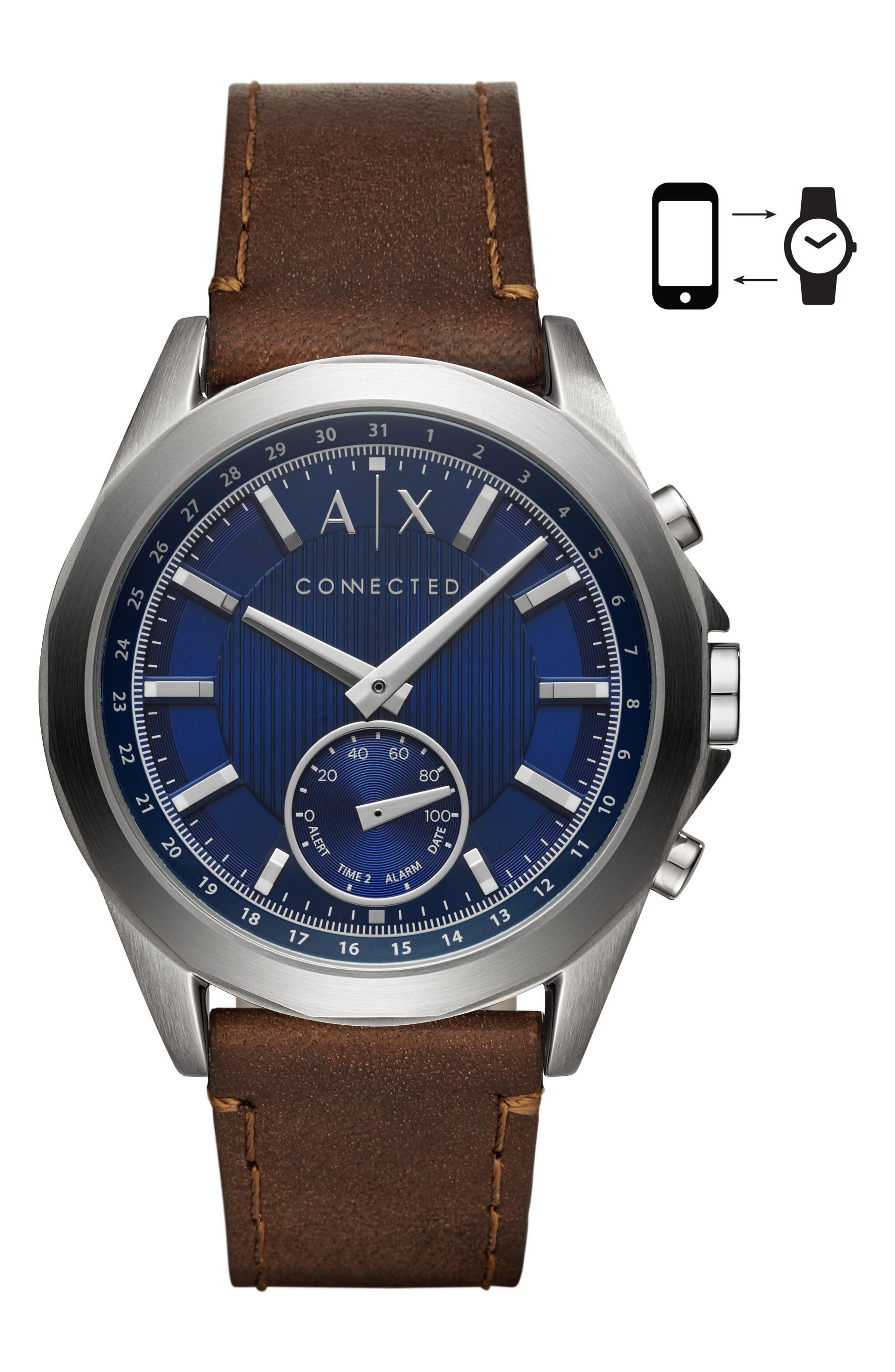 Connected Hybrid Leather Strap Smartwatch, 44mm,                         Main,                         color, Navy/ Brown