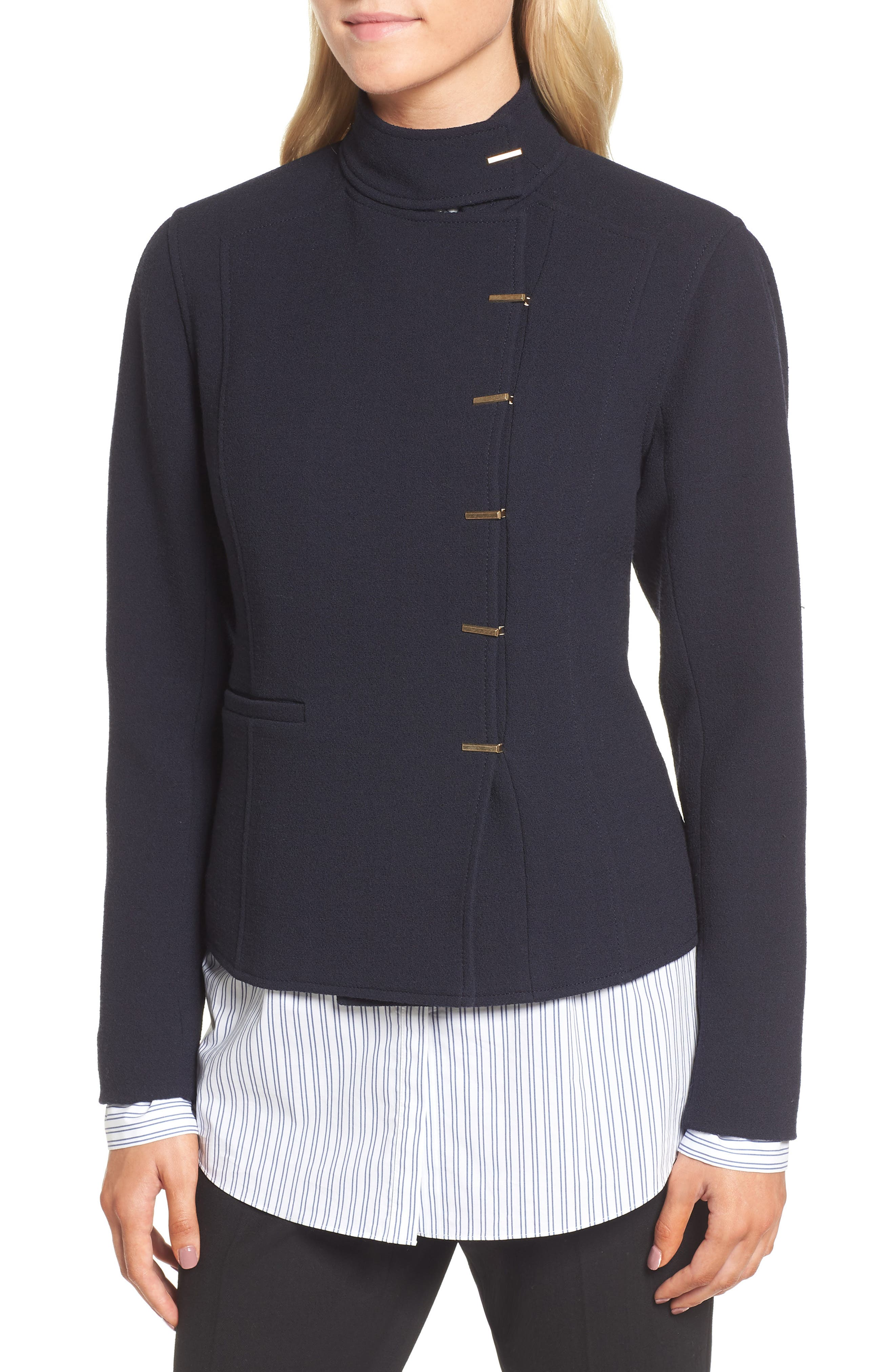 Fitted Wool Jacket,                             Alternate thumbnail 3, color,                             Navy Night