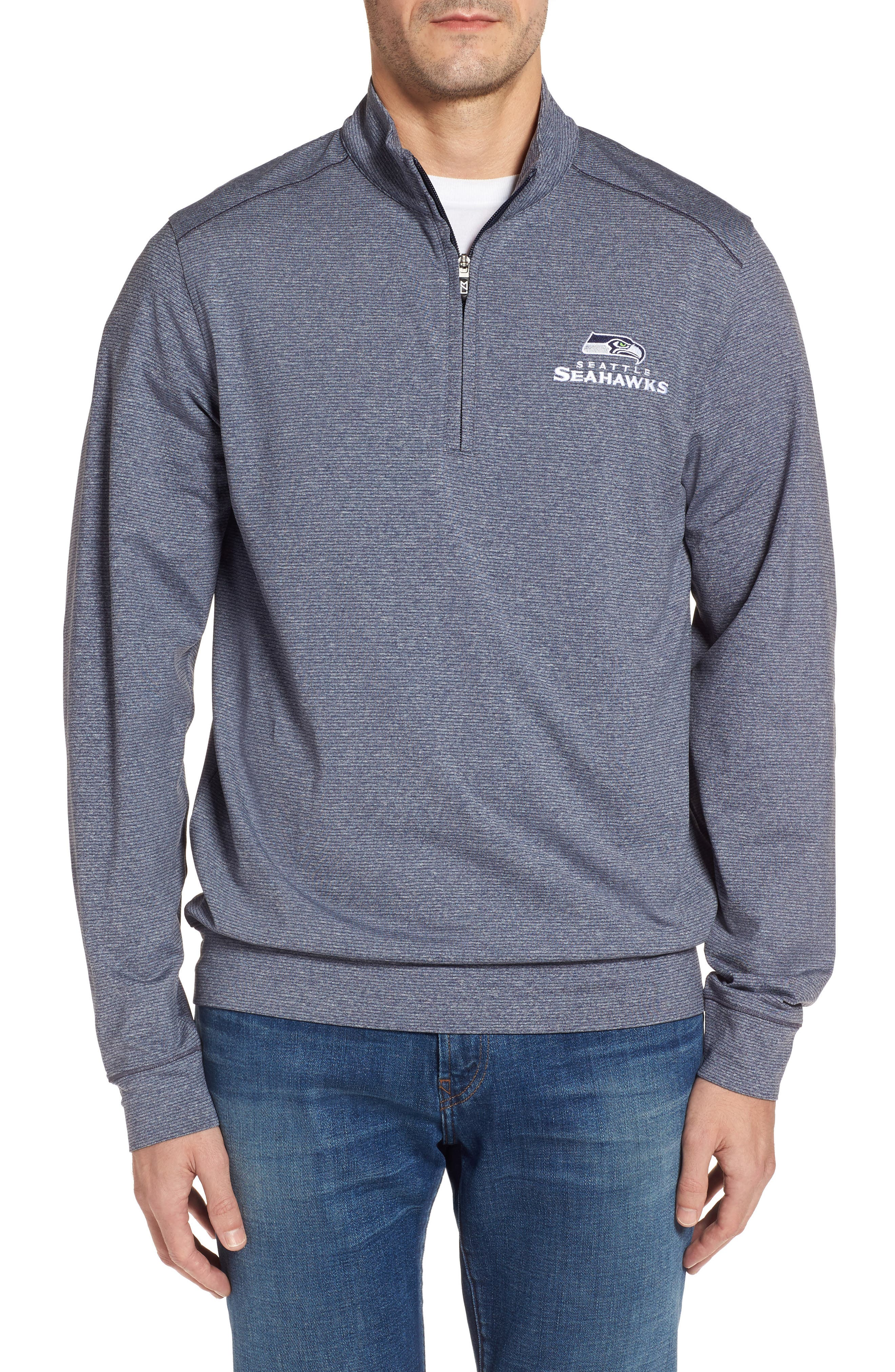 Seahawks Shoreline Quarter Zip Pullover,                         Main,                         color, Liberty Navy Heather