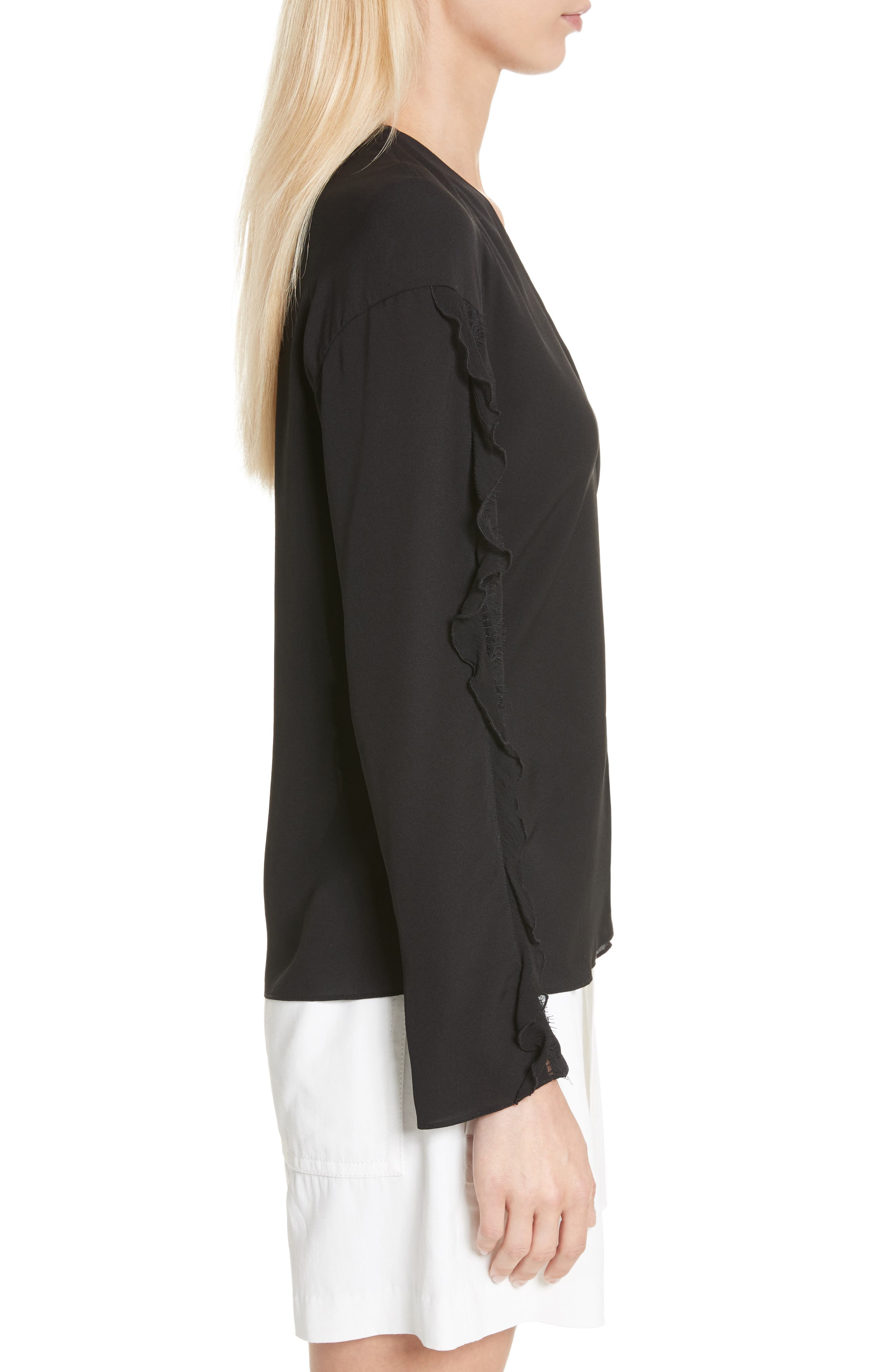 Ruffle Sleeve Silk Blouse,                             Alternate thumbnail 3, color,                             Black