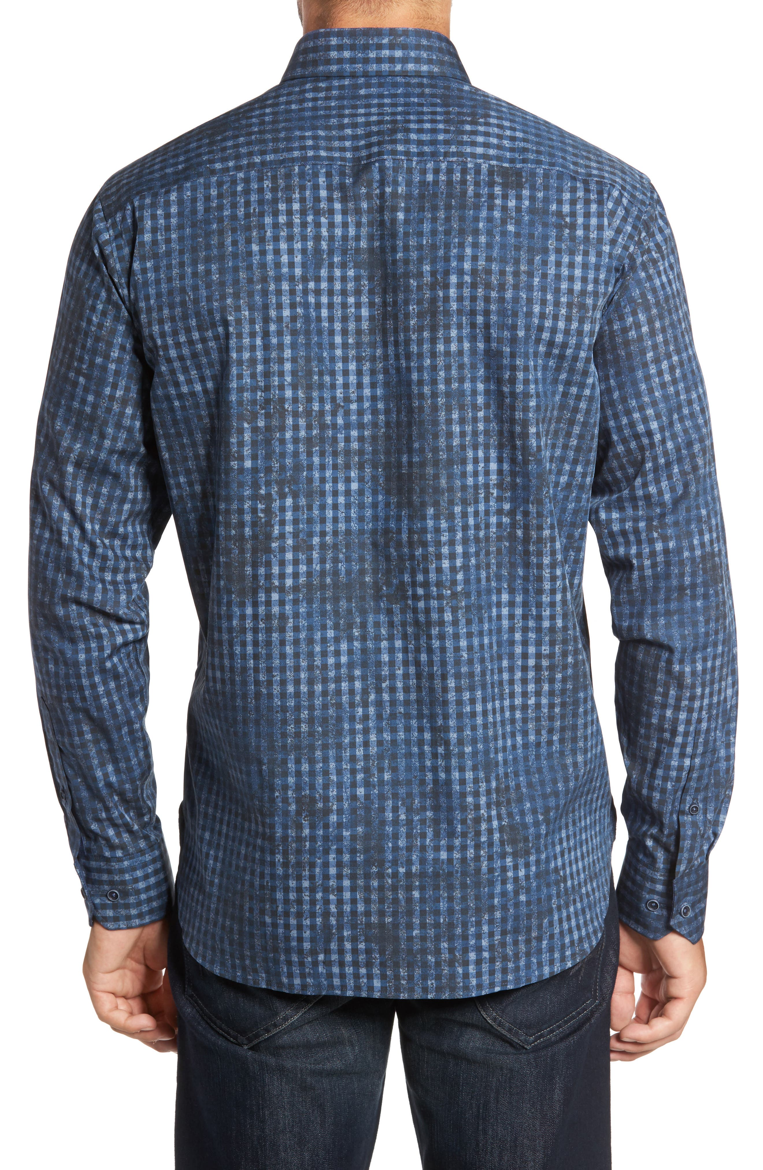 Classic Fit Mottled Check Sport Shirt,                             Alternate thumbnail 2, color,                             Indigo