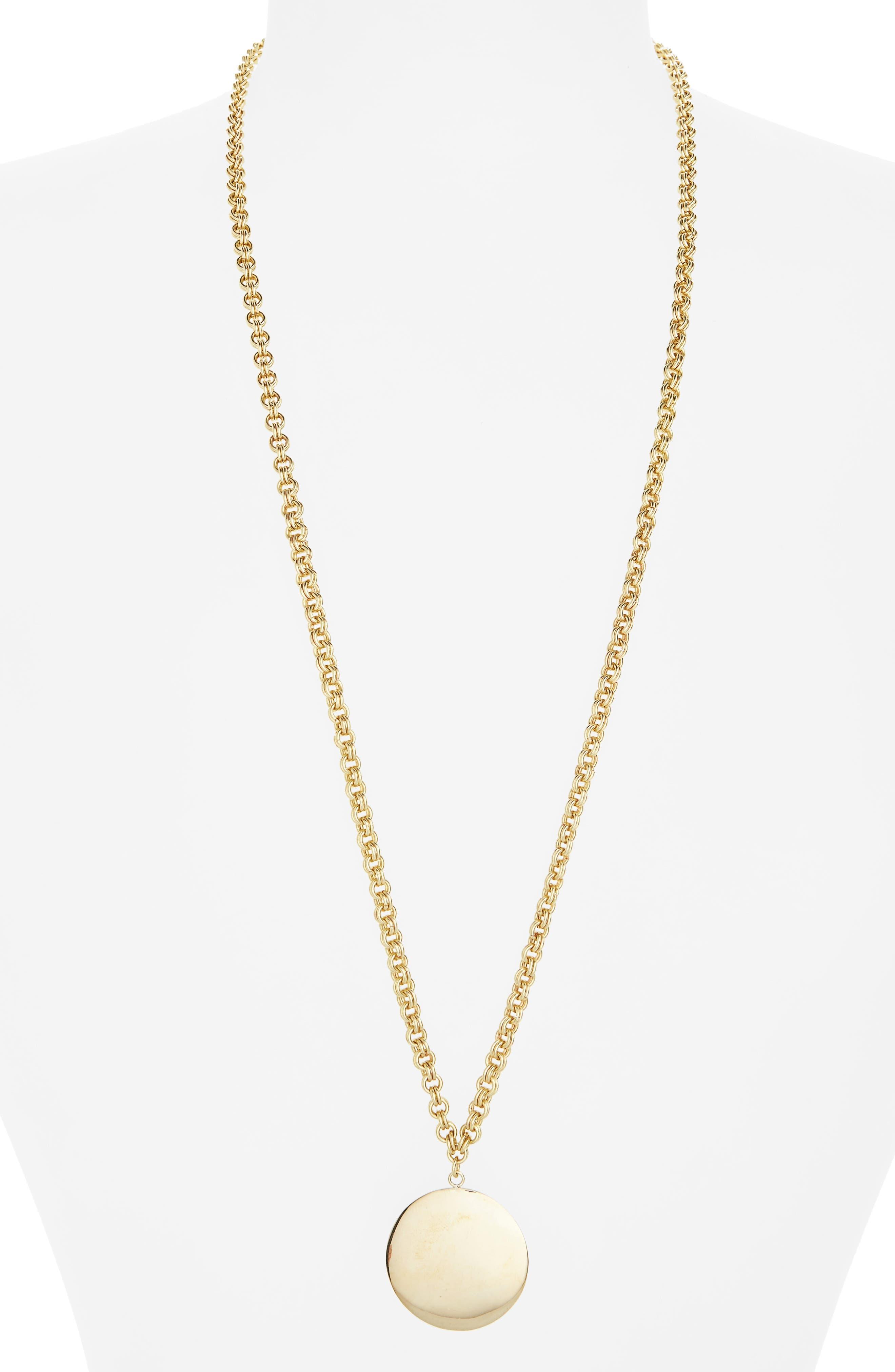 Medallion Pendant Necklace,                         Main,                         color, Brass