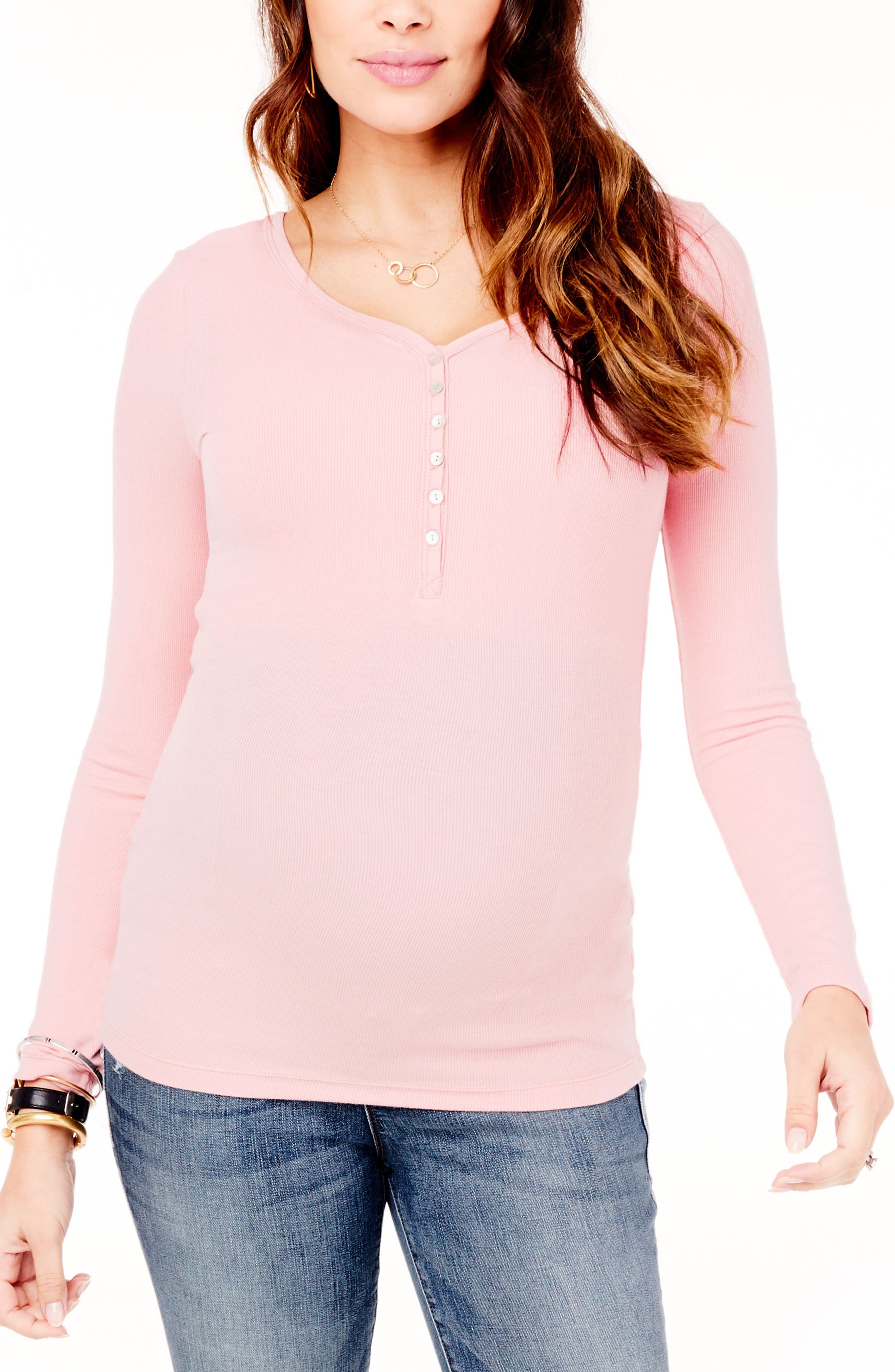 Ribbed Maternity/Nursing Henley Tee,                         Main,                         color, Petal Pink