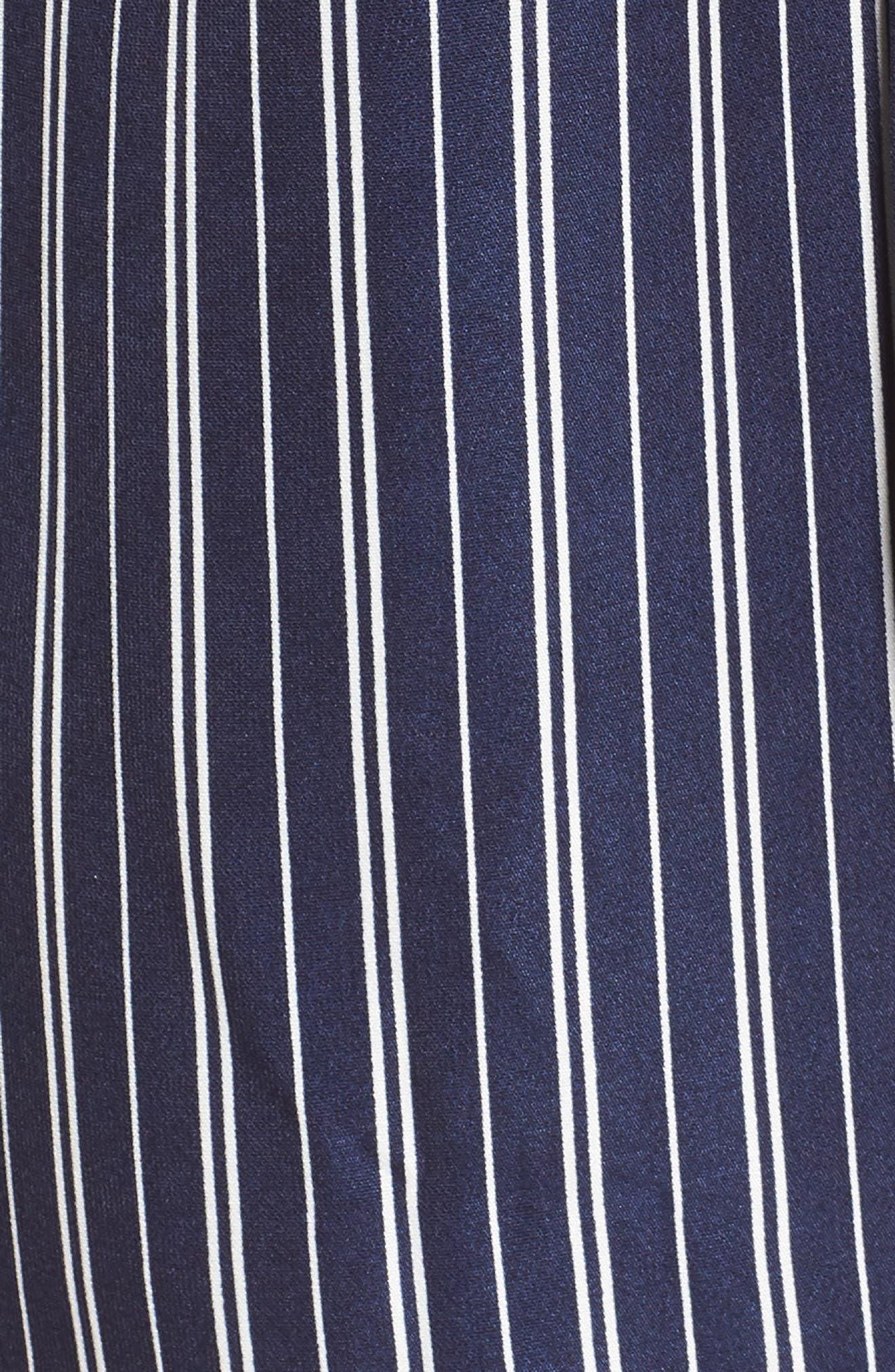 Off the Shoulder Shirtdress,                             Alternate thumbnail 5, color,                             Navy Stripe