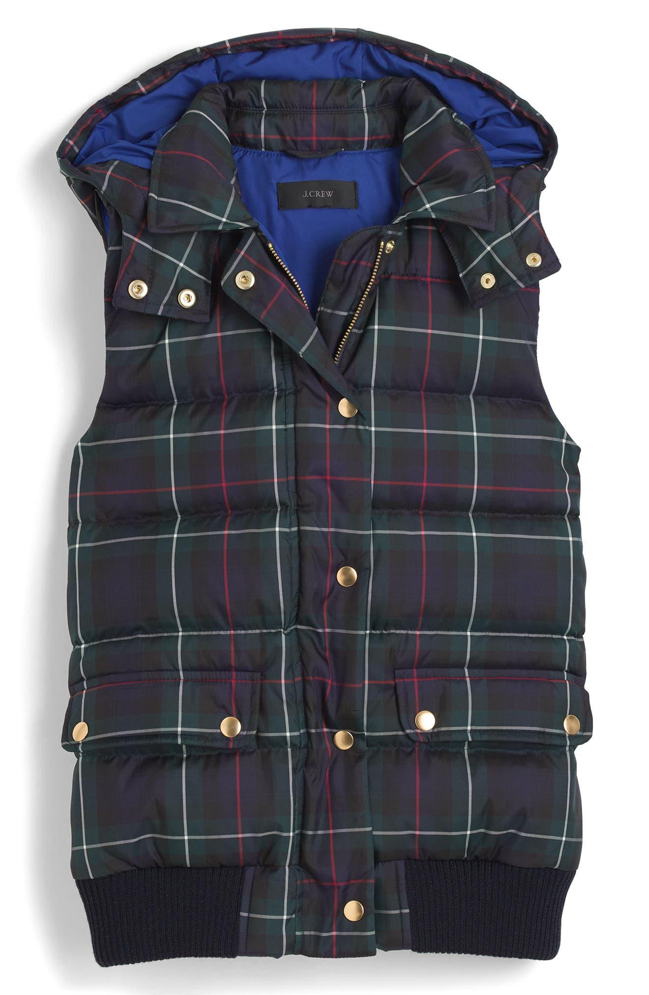 Alternate Image 4  - J.Crew Plaid Puffer Vest (Regular & Petite)