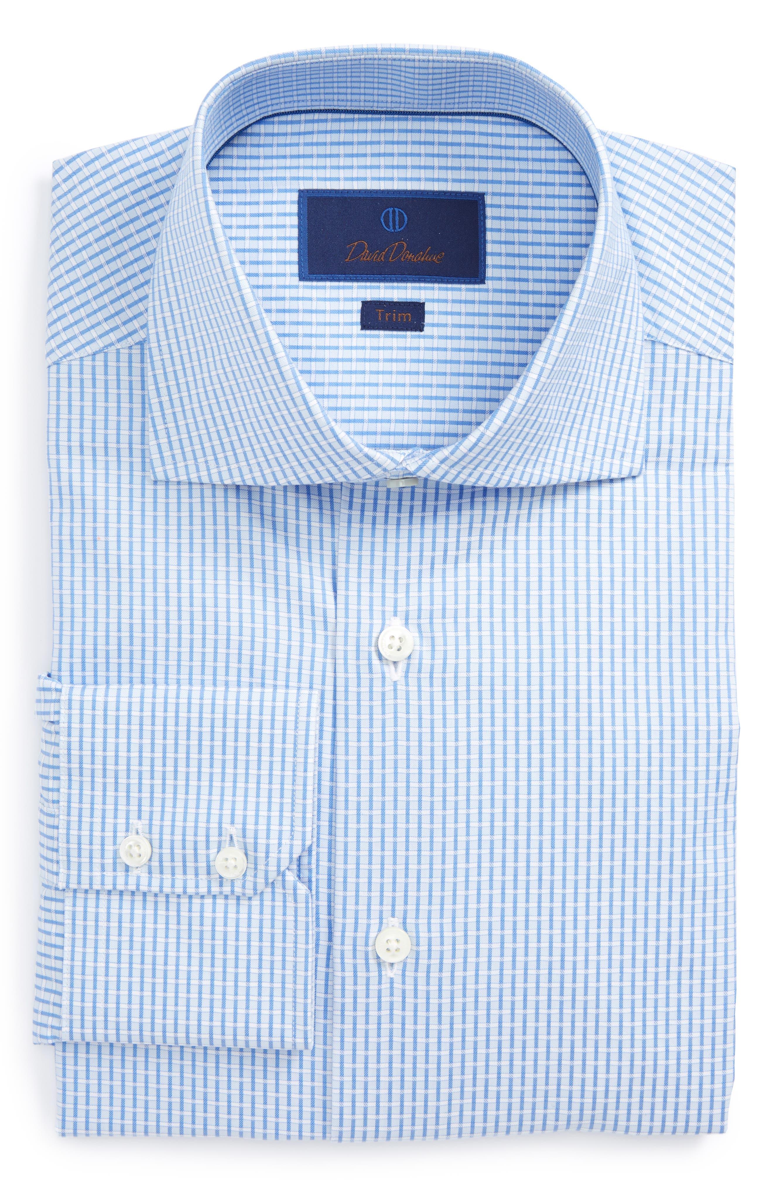 David Donahue Trim Fit Box Weave Dress Shirt
