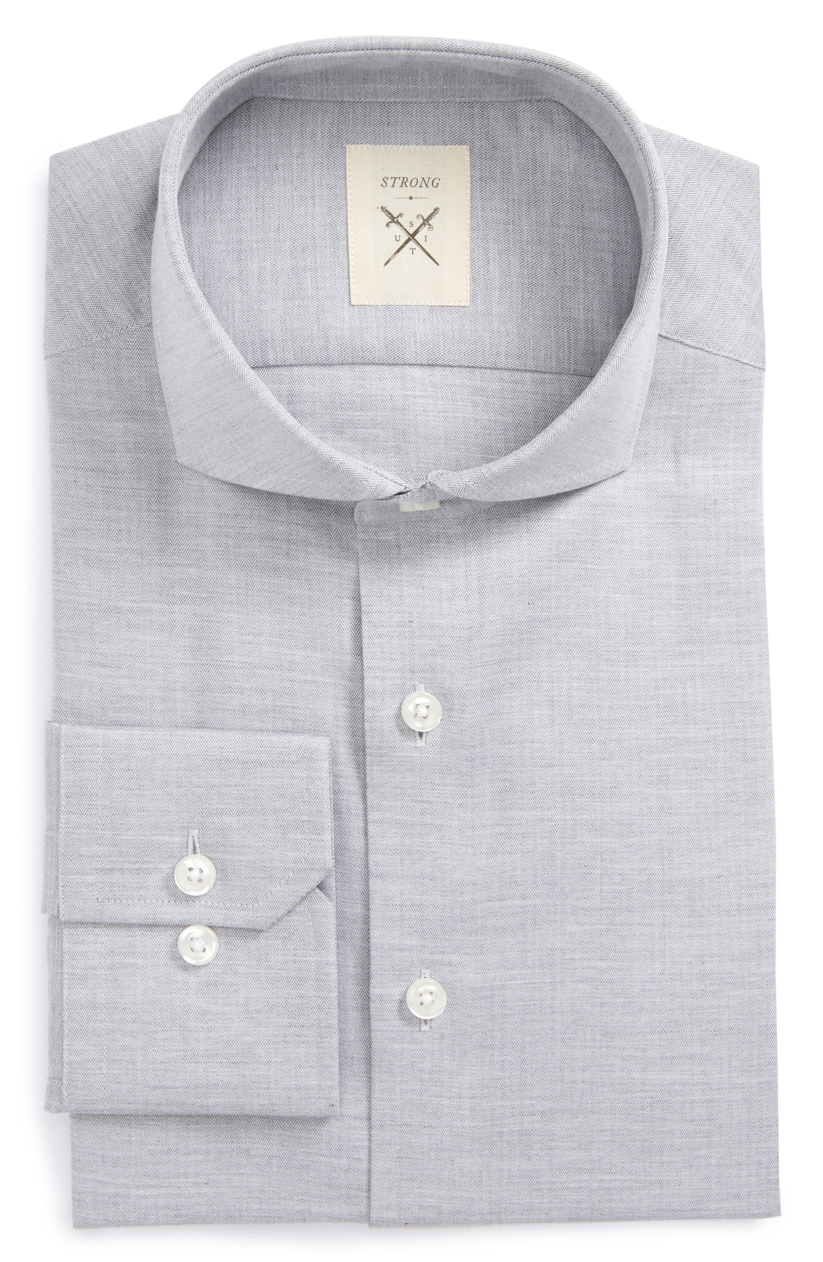 Main Image - Strong Suit Trim Fit Herringbone Dress Shirt