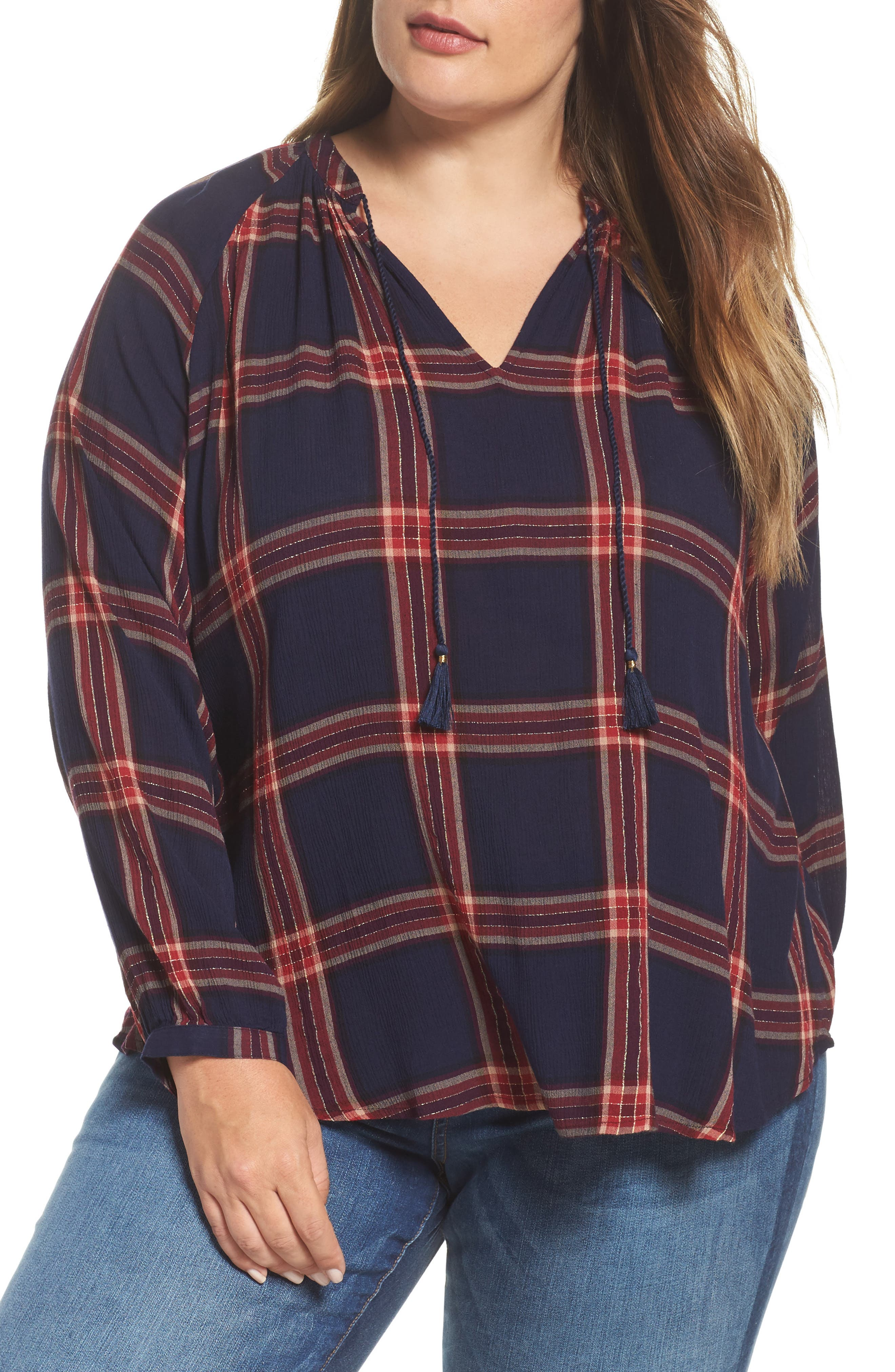 Alternate Image 1 Selected - Lucky Brand Plaid Cotton Peasant Top (Plus Size)