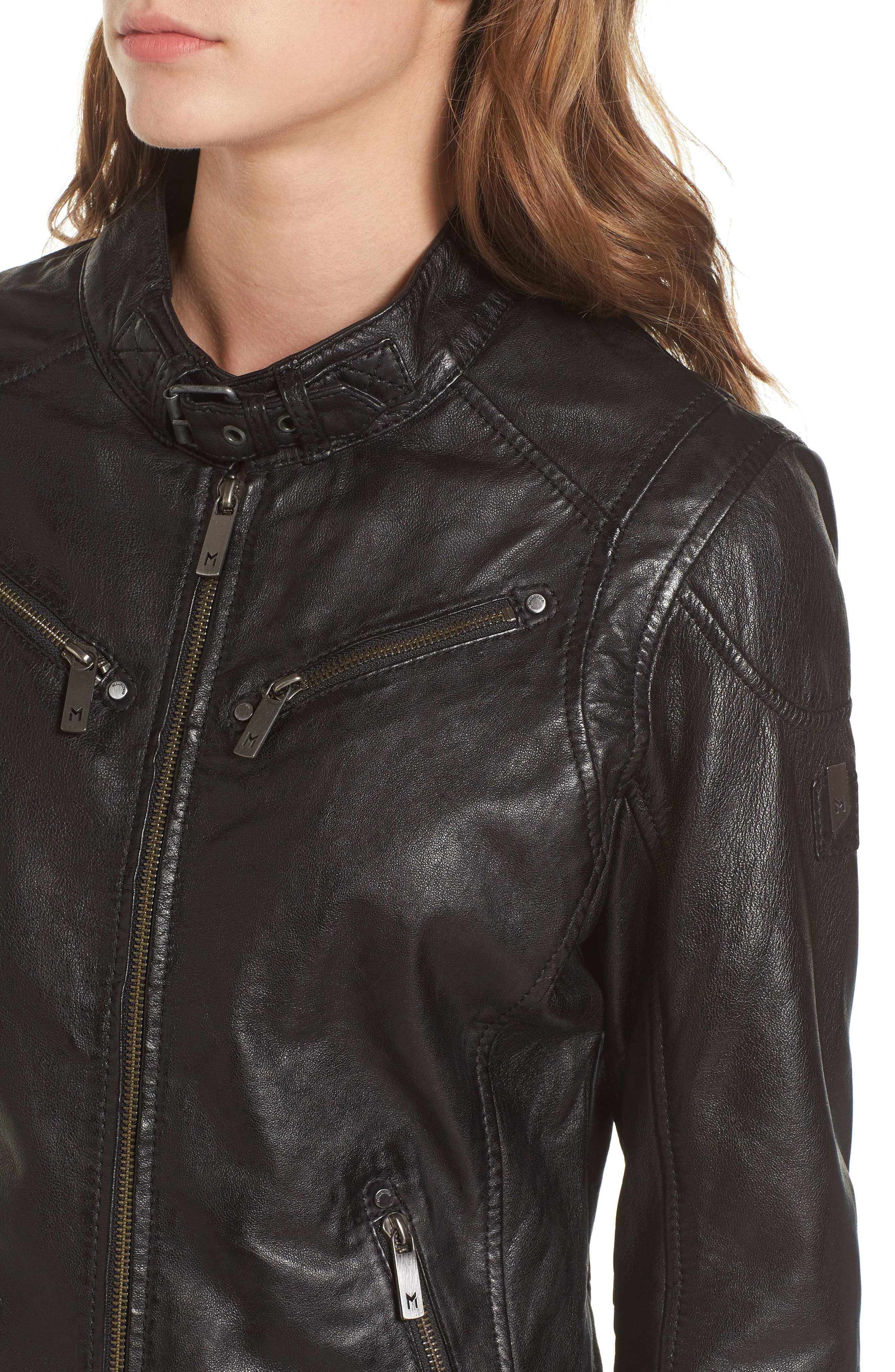 Leather Lambskin Leather Moto Jacket,                             Alternate thumbnail 4, color,                             Black