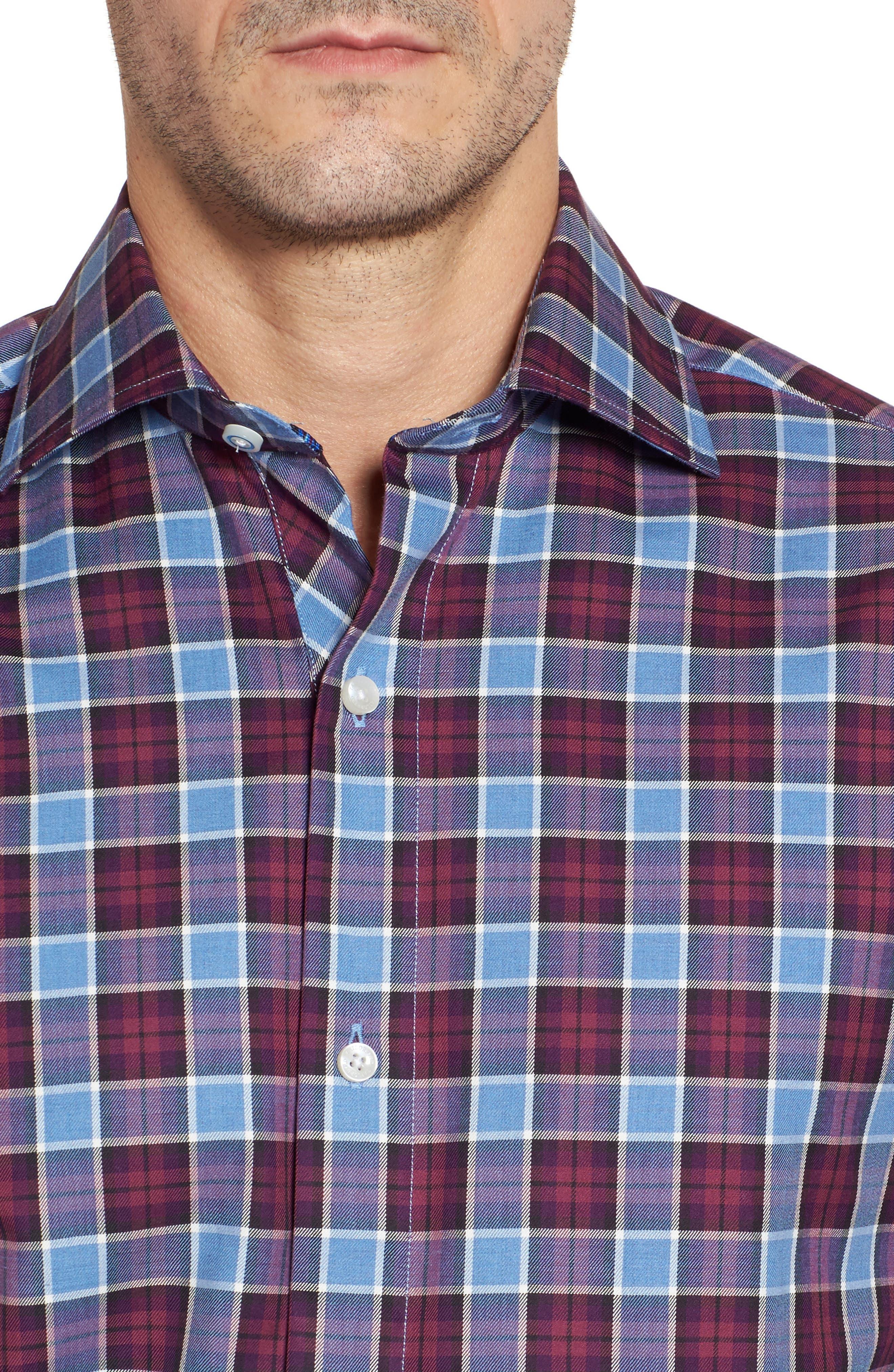 Campti Regular Fit Plaid Sport Shirt,                             Alternate thumbnail 4, color,                             Purple