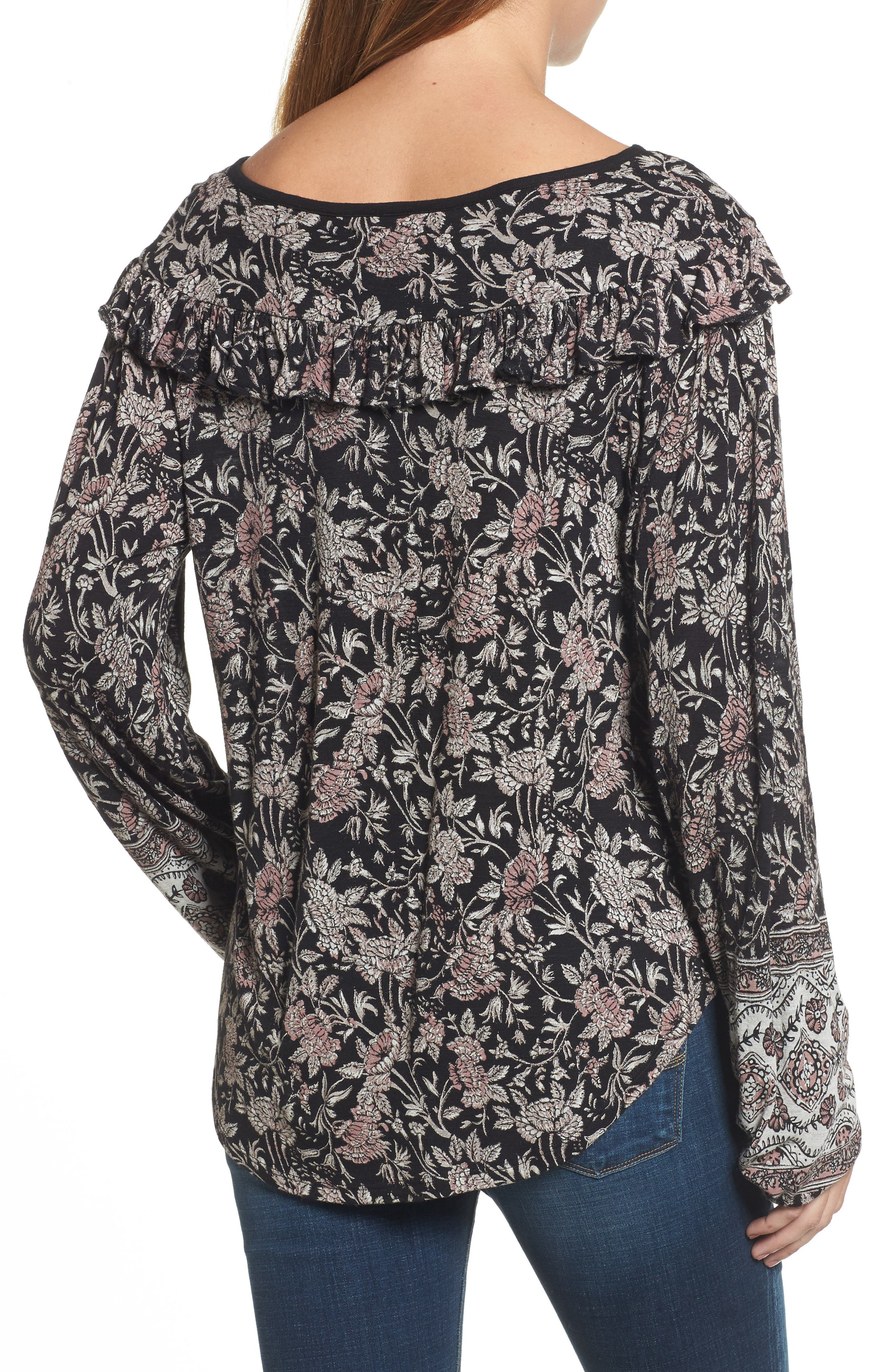 Alternate Image 2  - Lucky Brand Mixed Floral Ruffle Top