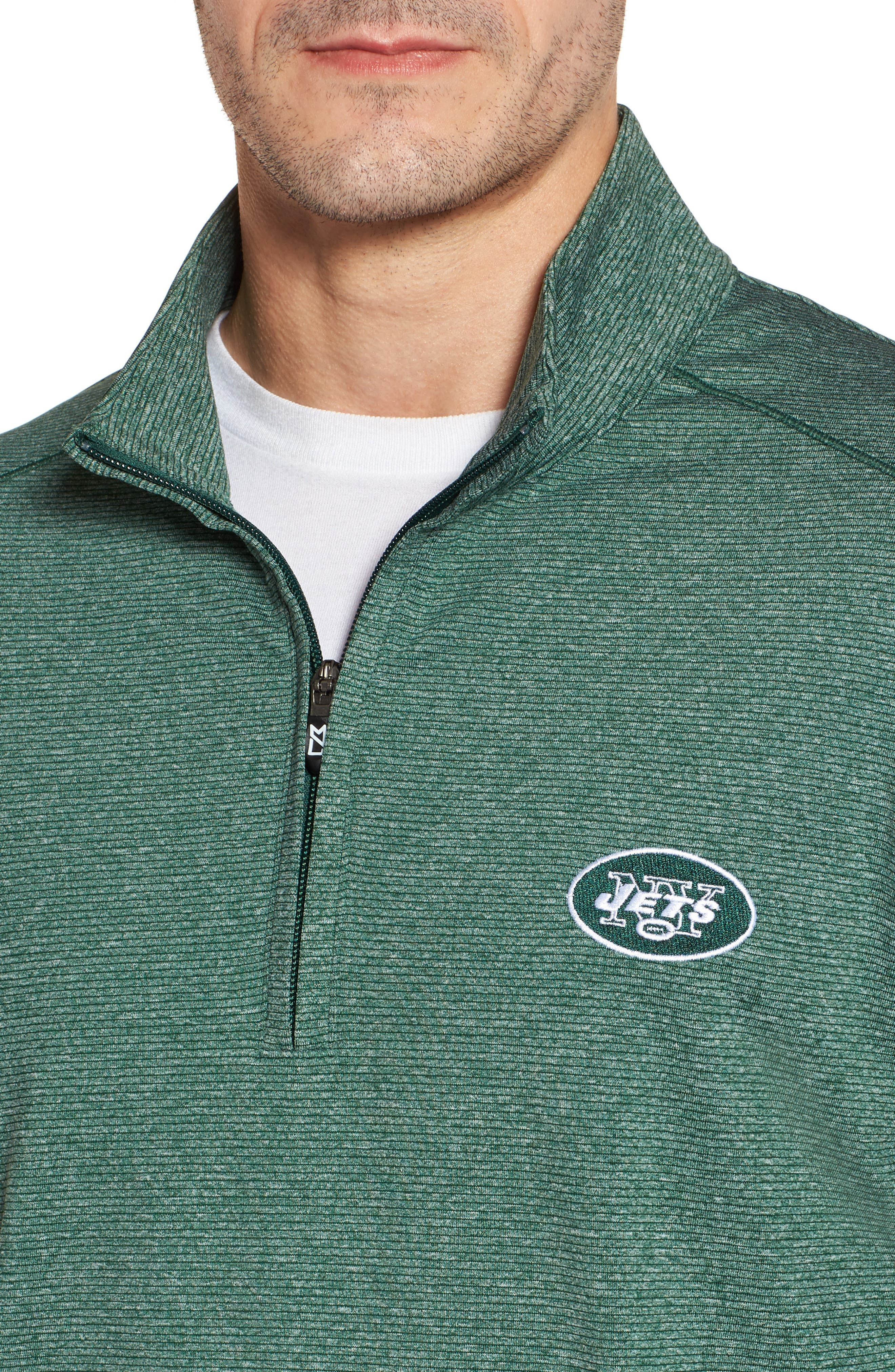 Shoreline - New York Jets Half Zip Pullover,                             Alternate thumbnail 4, color,                             Hunter Heather
