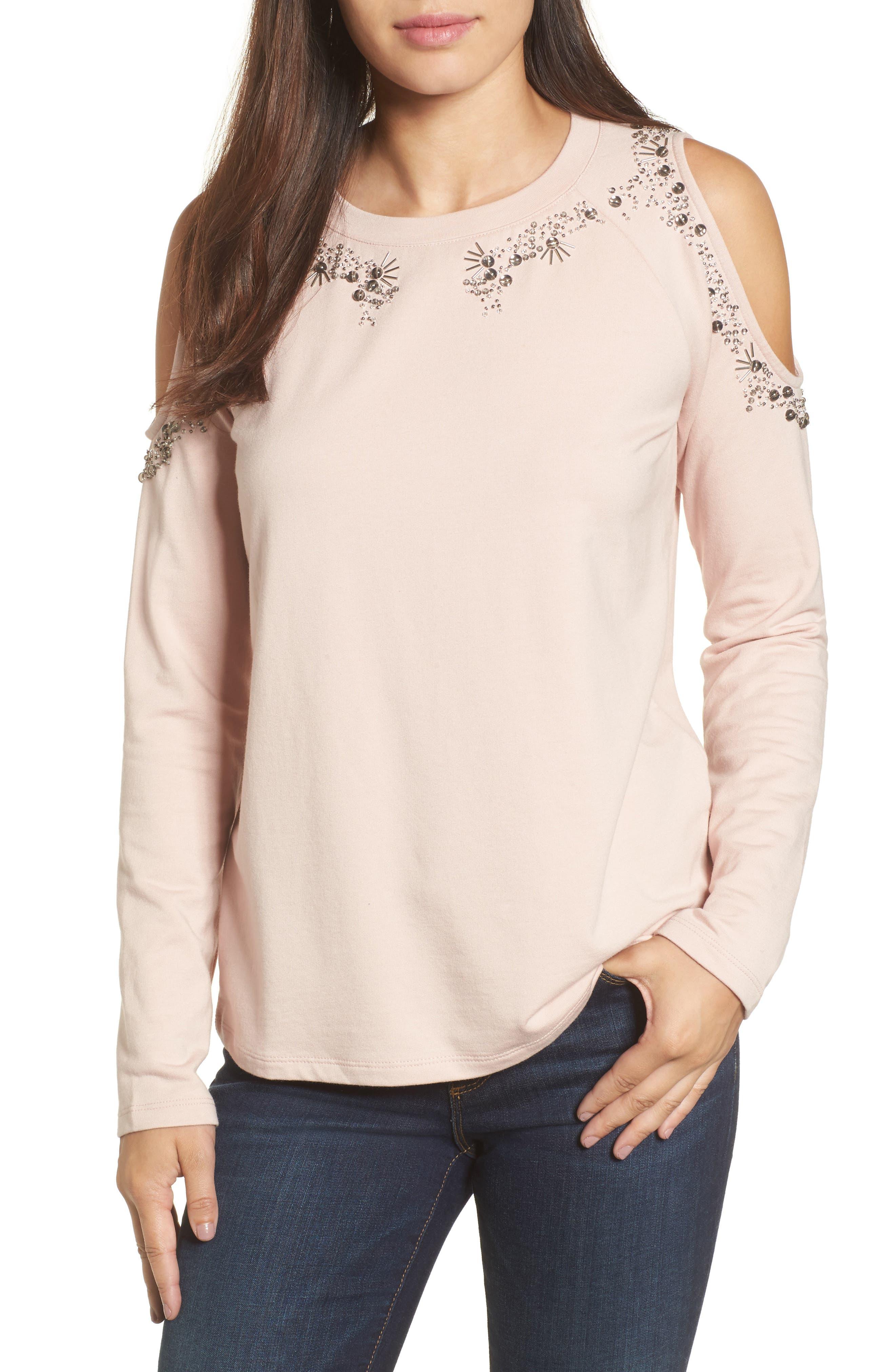 Halogen® Beaded Cold Shoulder Sweatshirt