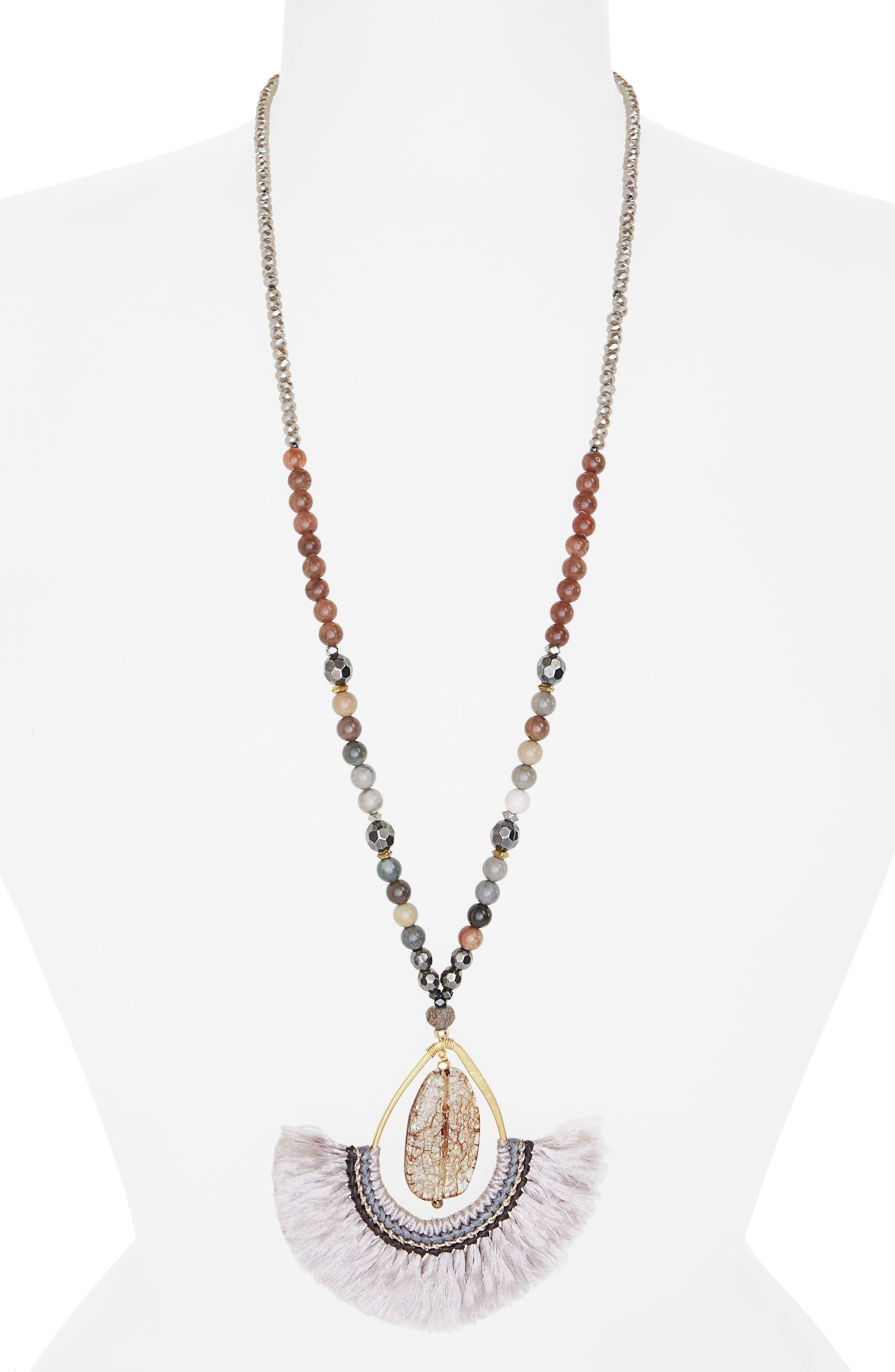 Fringed Agate Teardrop Pendant Necklace,                         Main,                         color, Nude