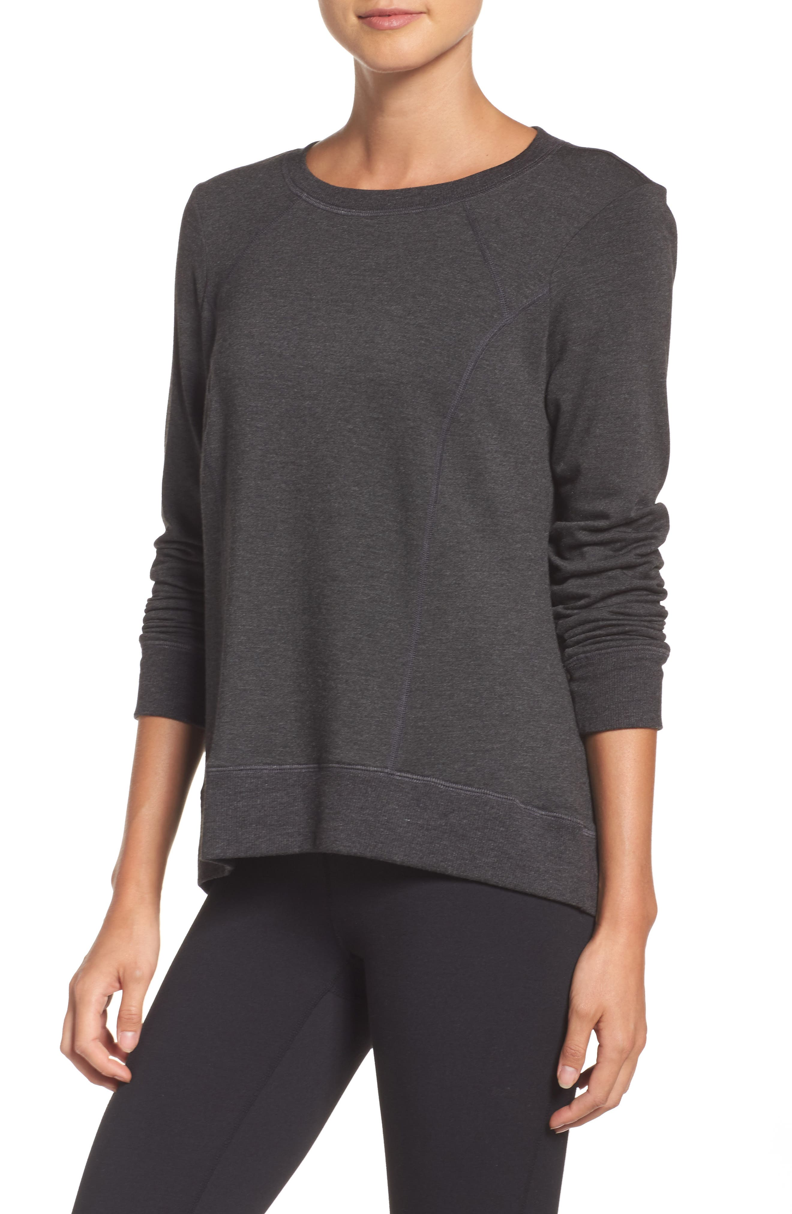 Fleece Pullover,                         Main,                         color, Charcoal Heather Gray