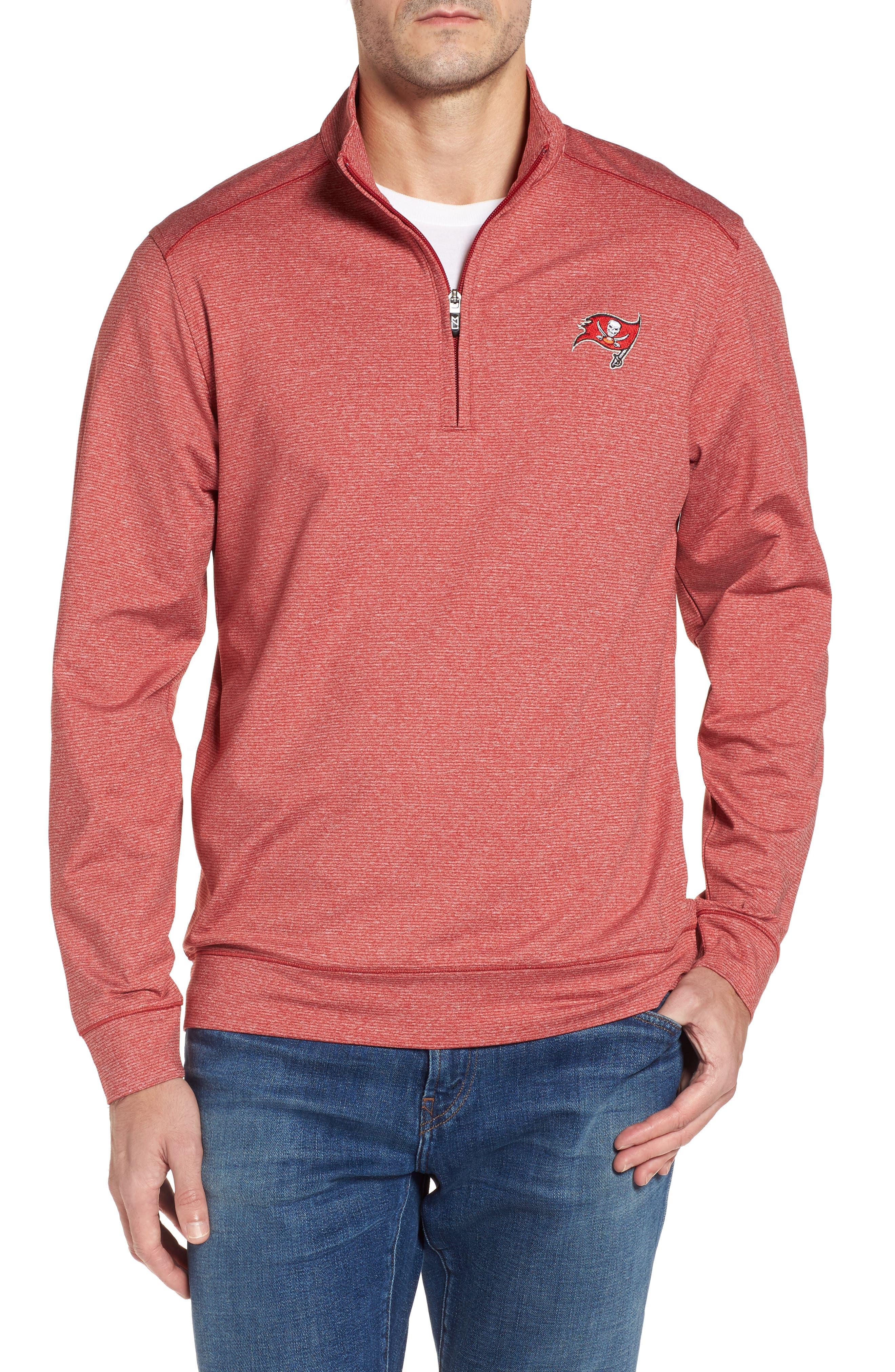 Shoreline - Tampa Bay Buccaneers Half Zip Pullover,                         Main,                         color, Cardinal Red Heather