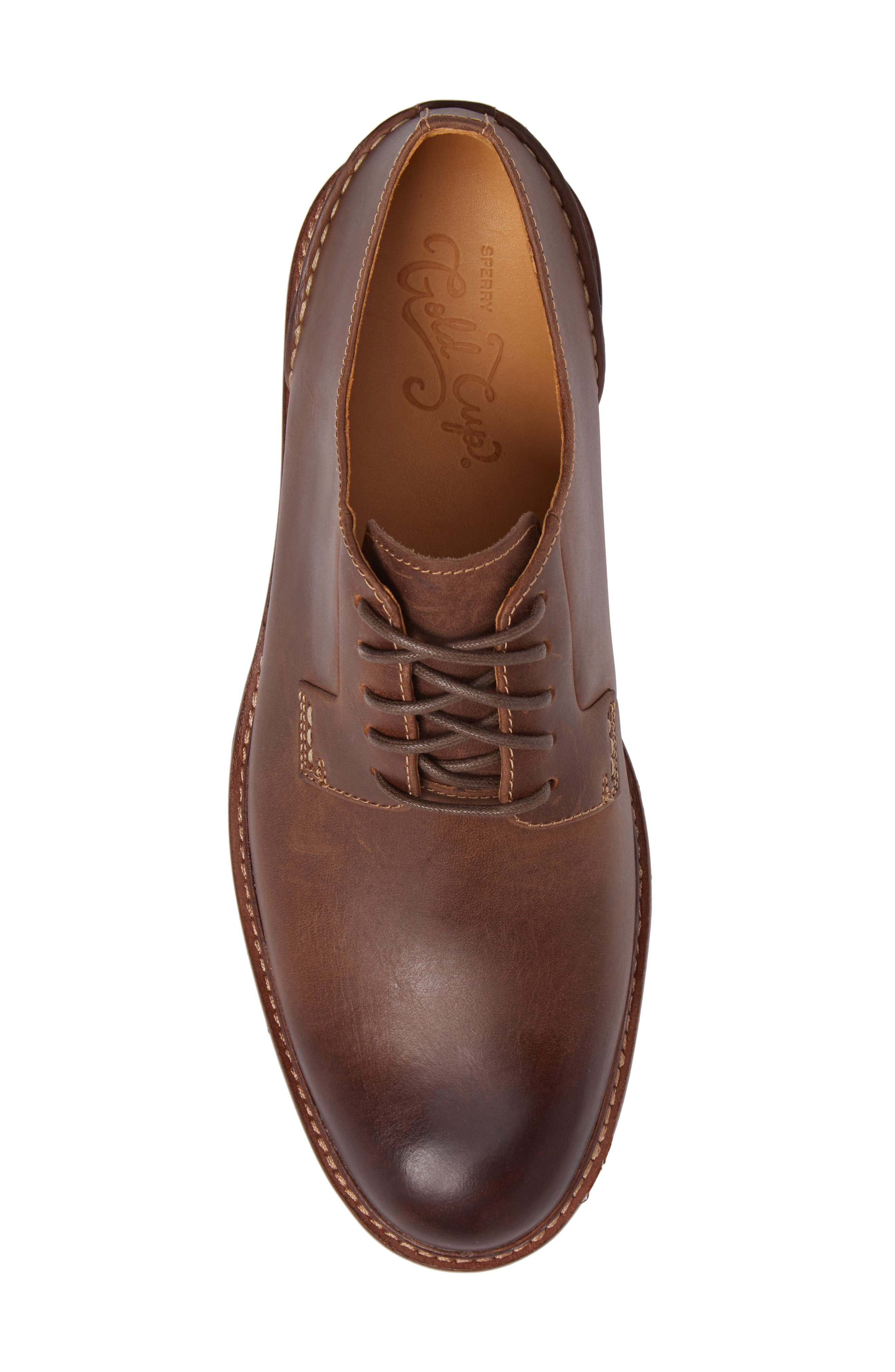 Gold Cup Plain Toe Derby,                             Alternate thumbnail 5, color,                             Brown Leather