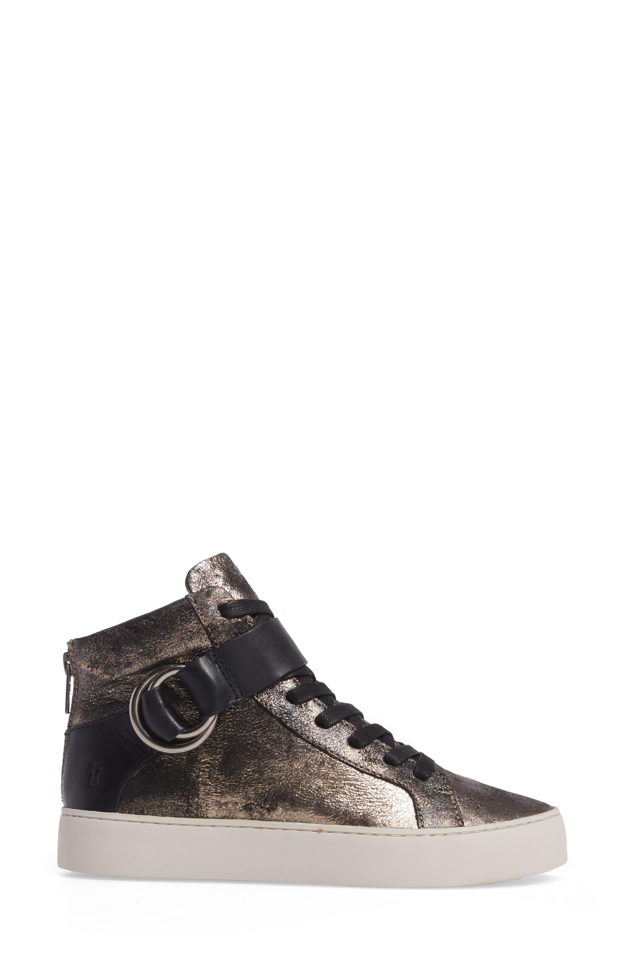 Lena Harness High Top Sneaker,                             Alternate thumbnail 3, color,                             Gunmetal
