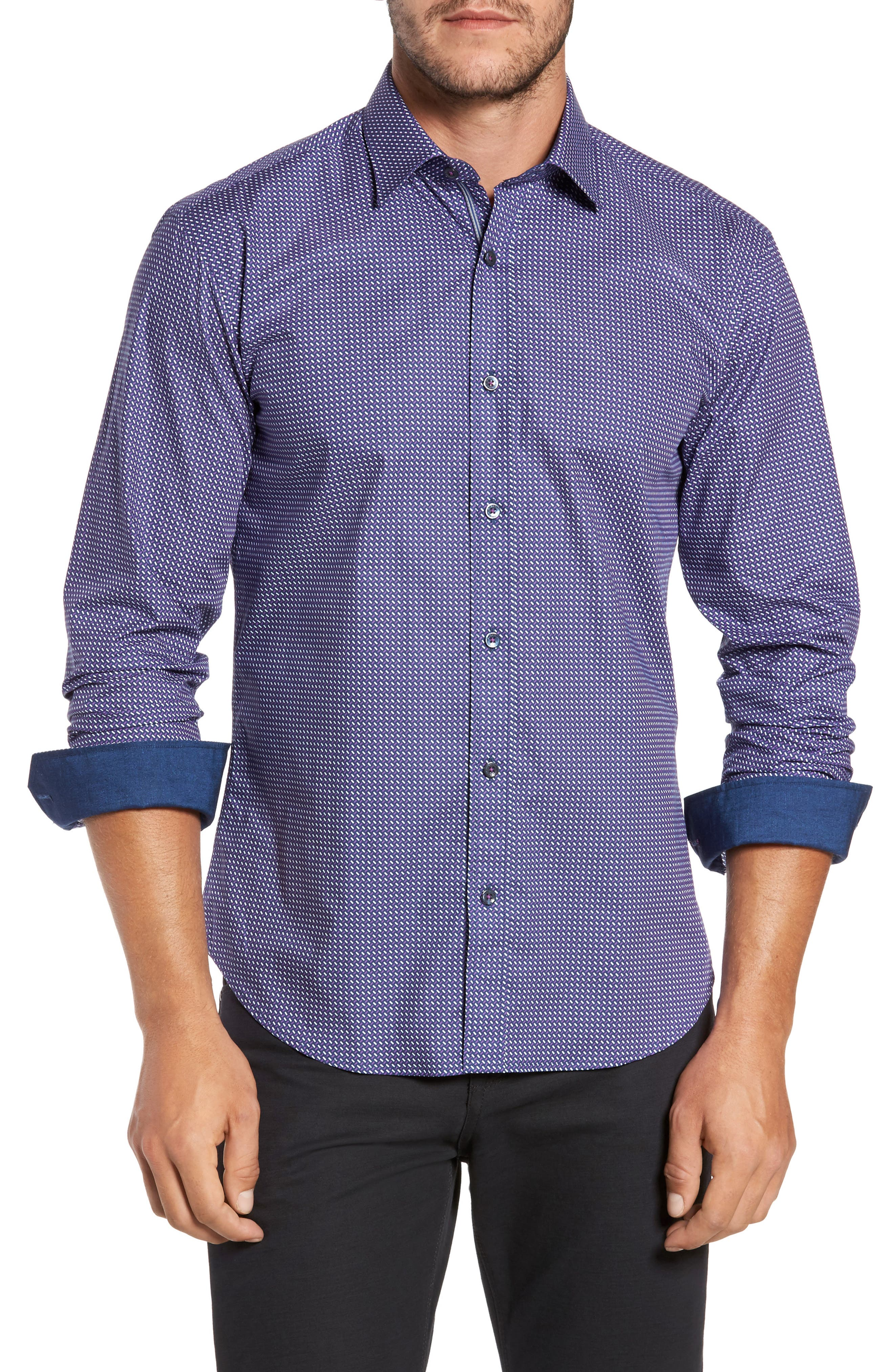 Main Image - Bugatchi Trim Fit Weave Print Sport Shirt