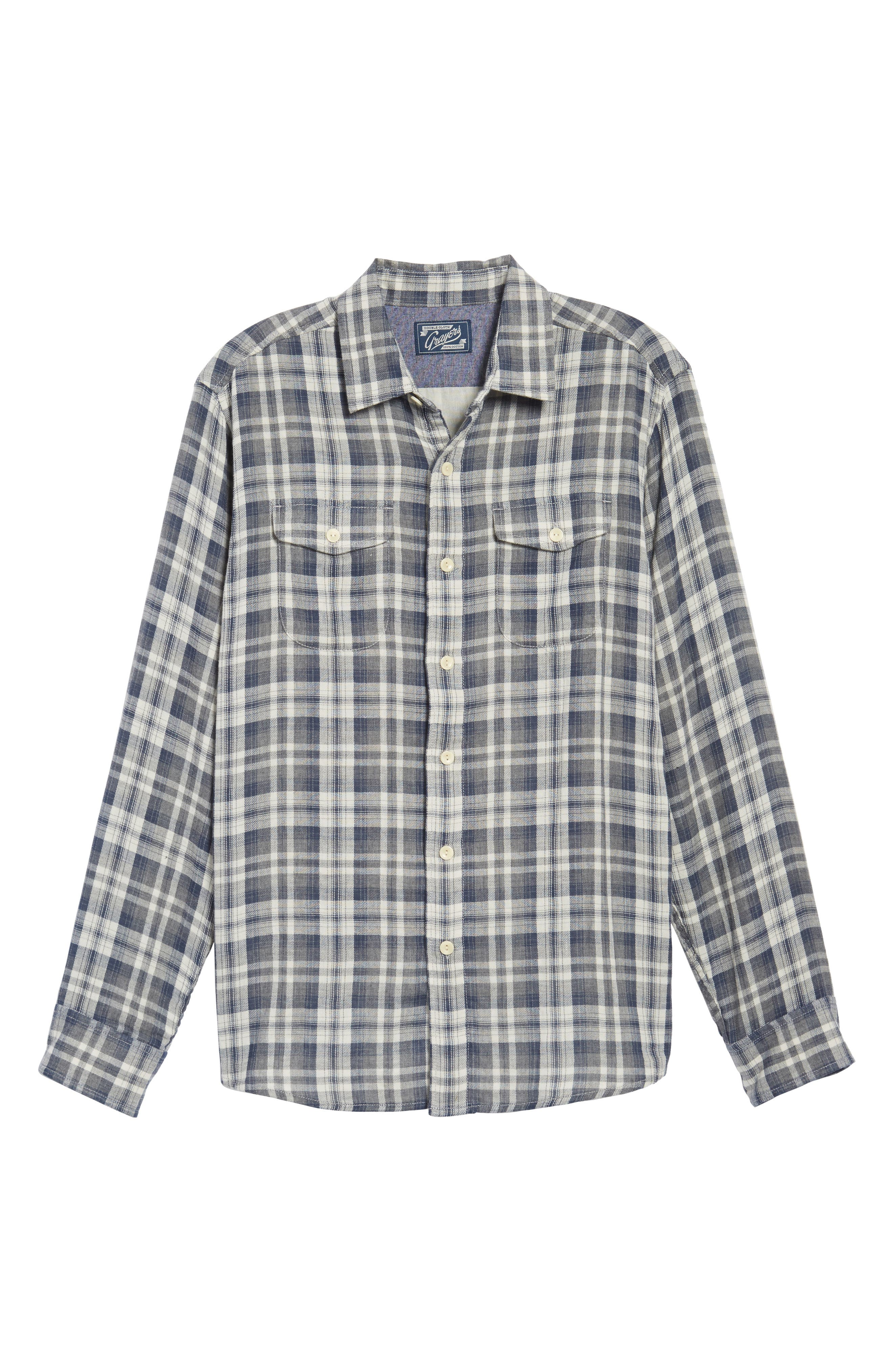 Saratoga Modern Fit Plaid Double Cloth Sport Shirt,                             Alternate thumbnail 6, color,                             Charcoal Navy Stone