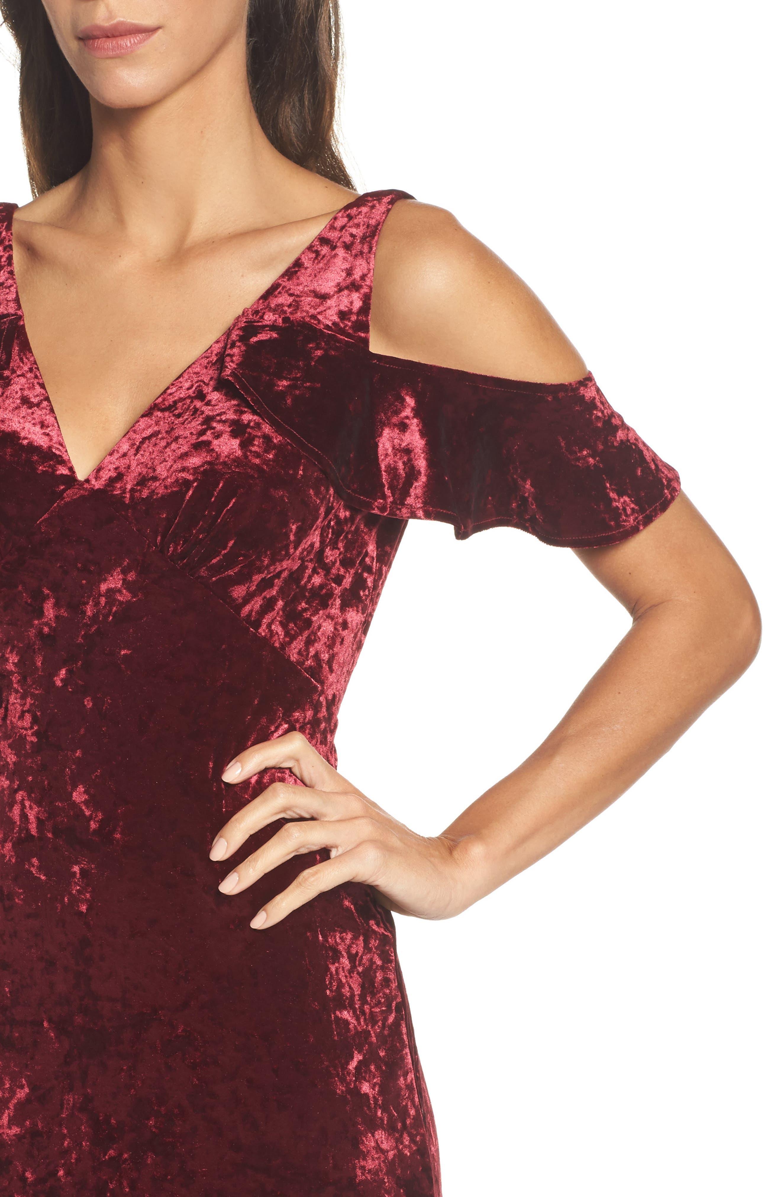 Cold Shoulder Velvet Dress,                             Alternate thumbnail 4, color,                             Burgundy
