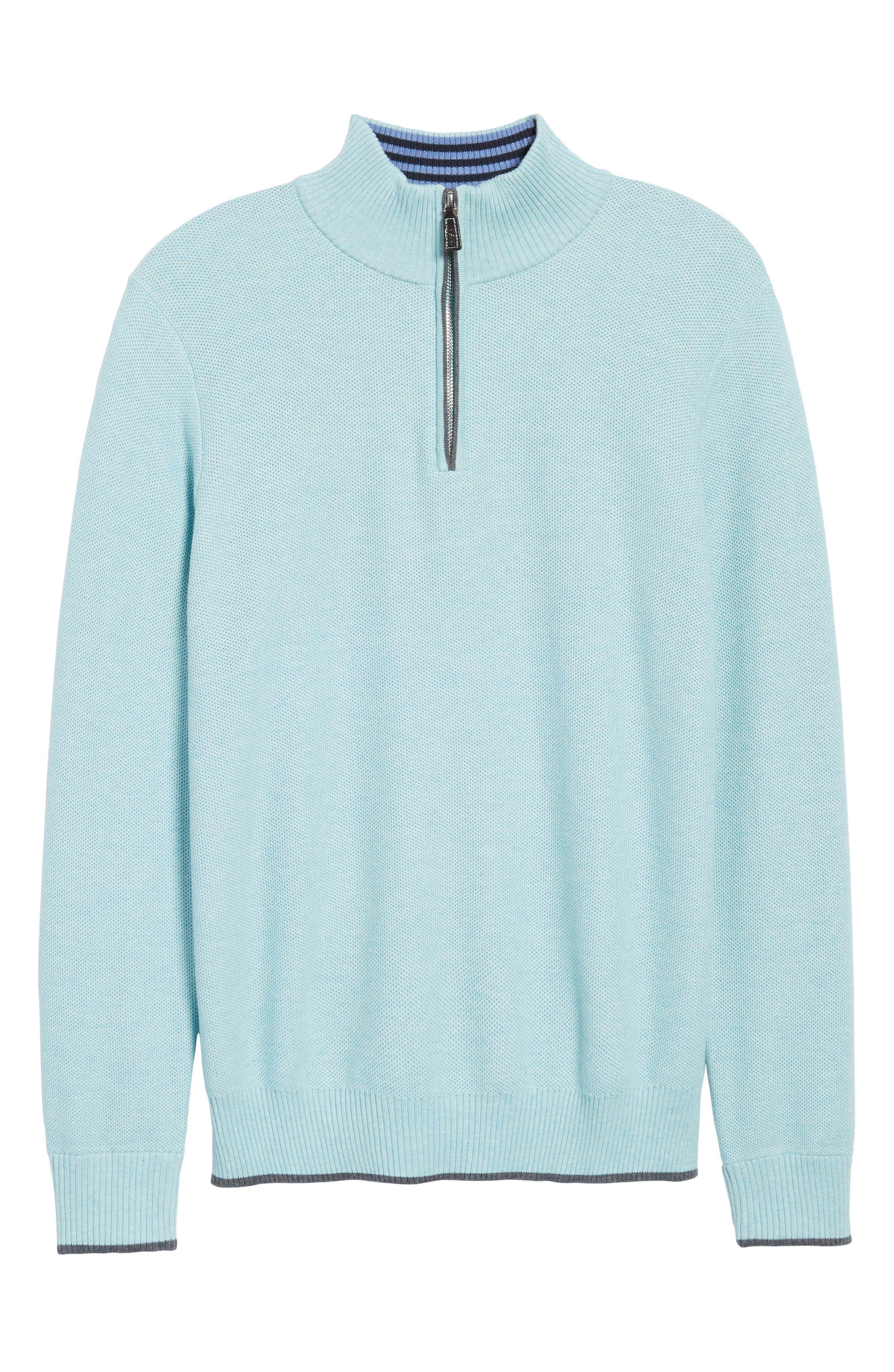 Starks Tipped Quarter Zip Sweater,                             Alternate thumbnail 6, color,                             Aqua