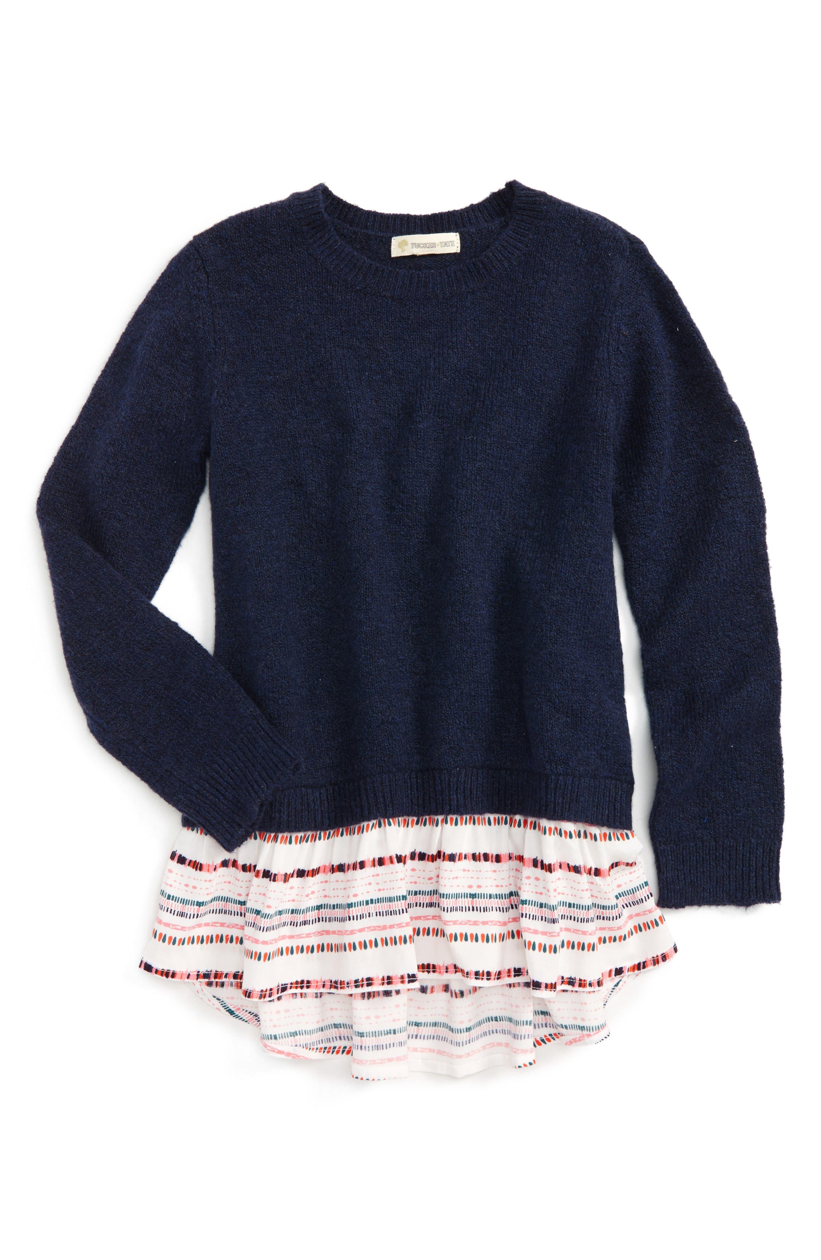 Mixed Media Sweater,                         Main,                         color, Navy Peacoat Heather Geo