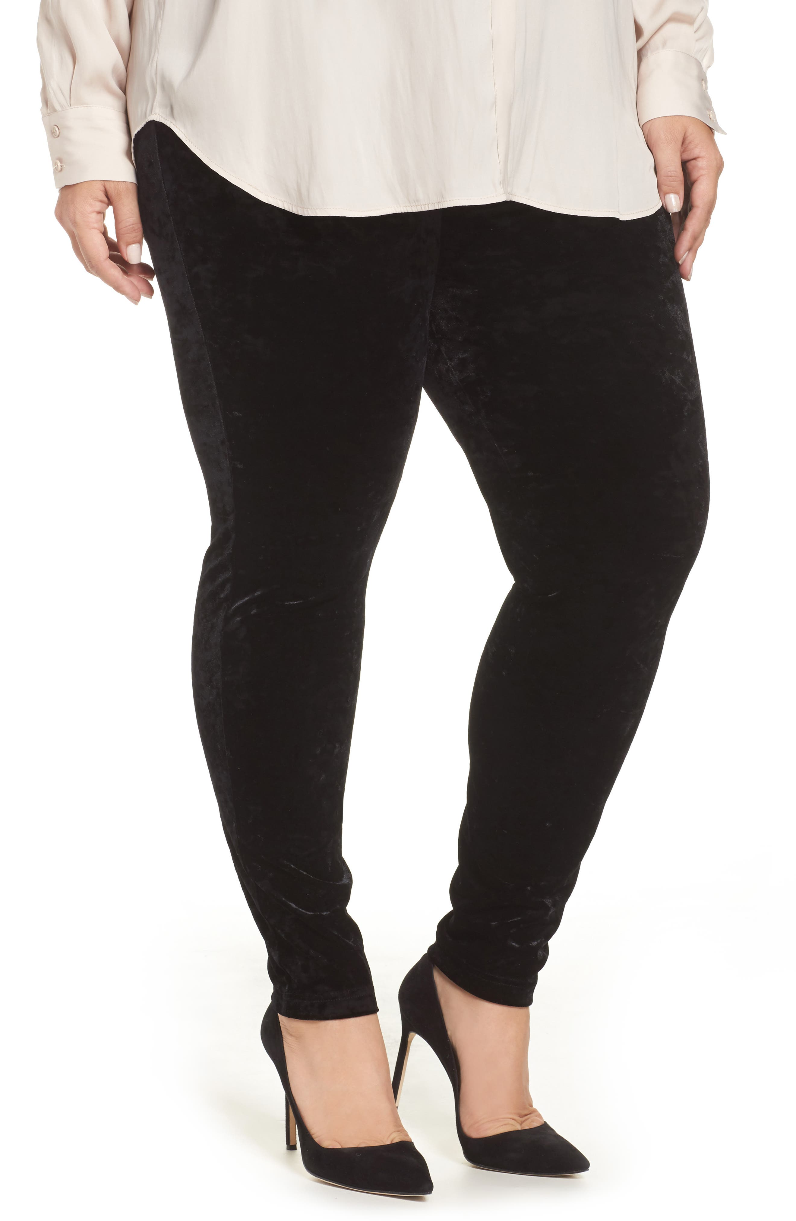 Alternate Image 1 Selected - Vince Camuto Crushed Velvet Knit Leggings (Plus Size)