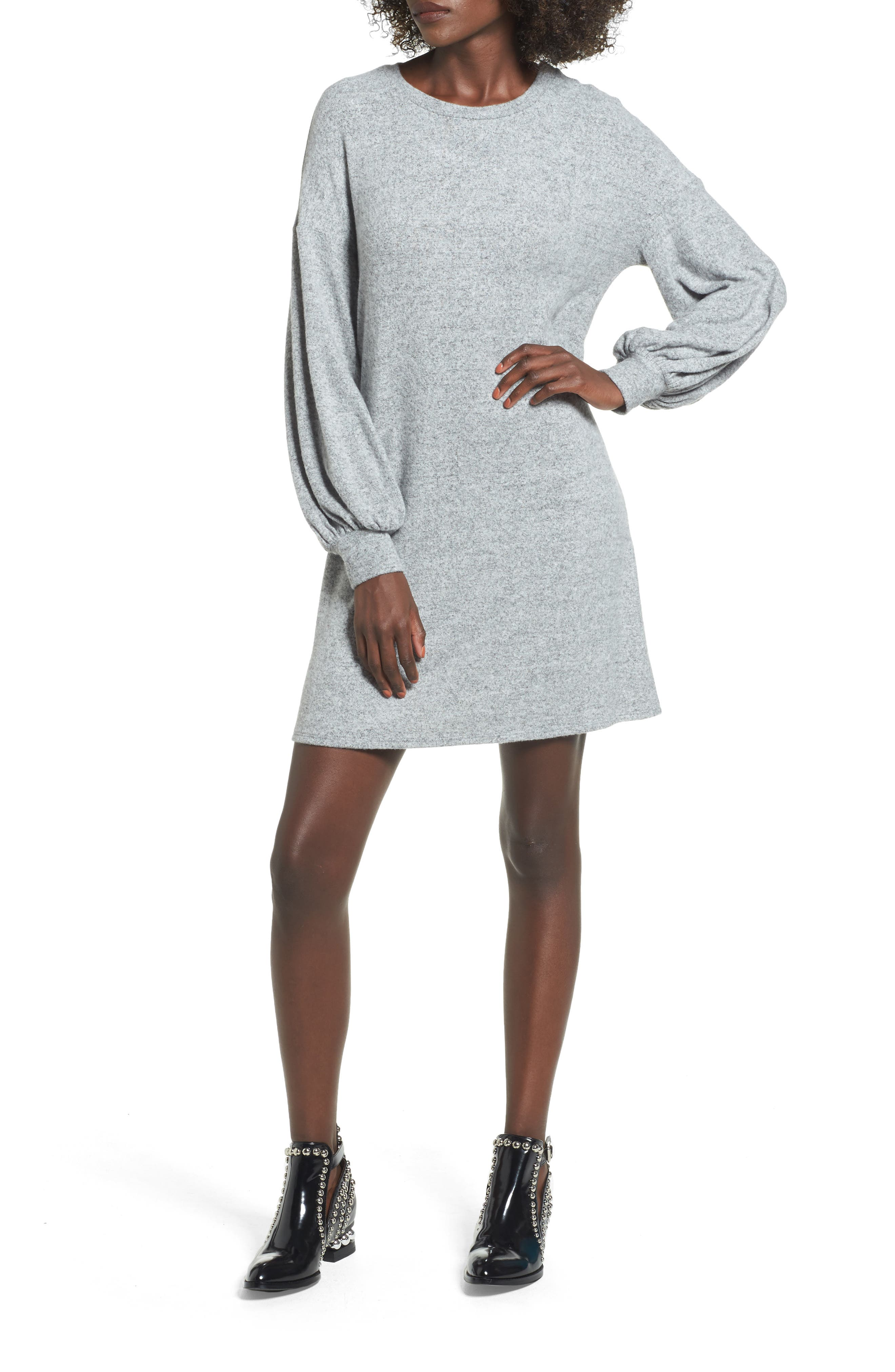 Balloon Sleeve Sweater Dress,                         Main,                         color, Heather Grey