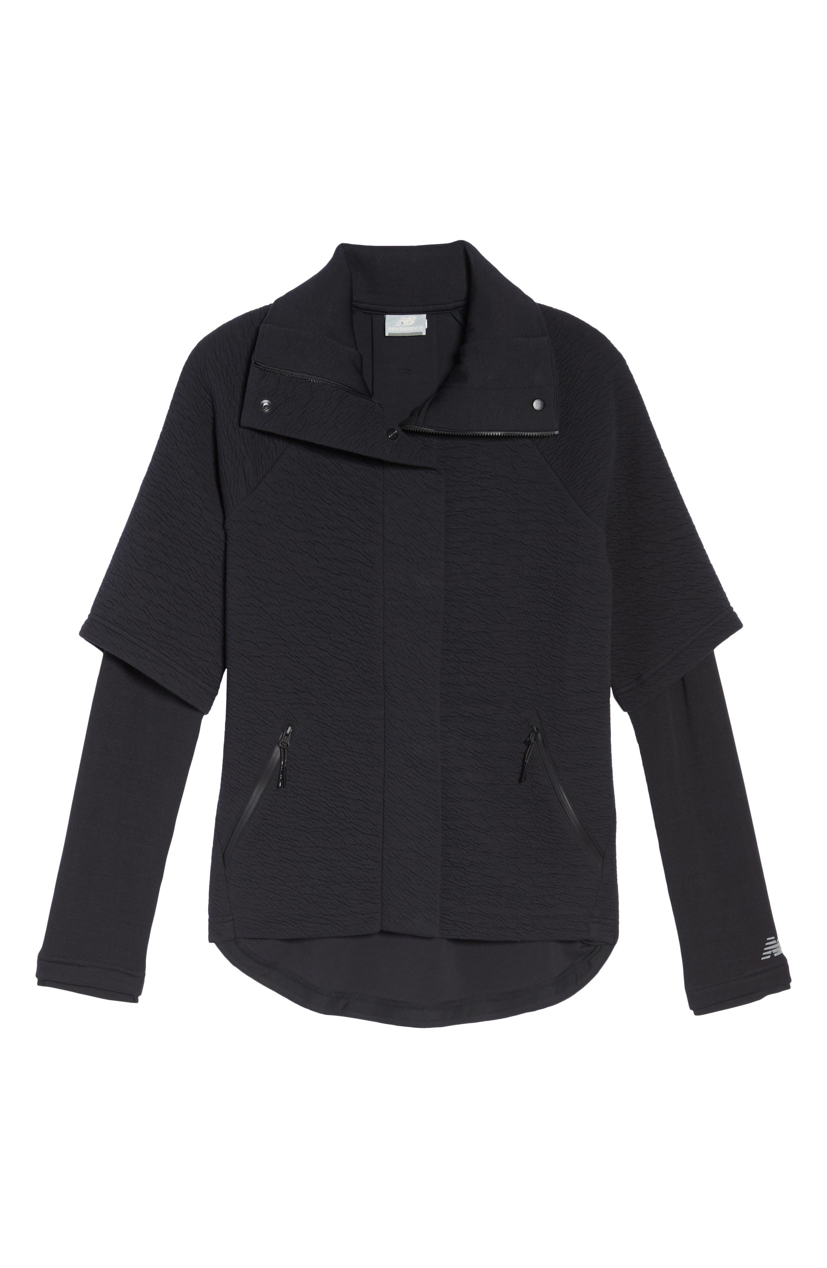 Heat Knit Drape Jacket,                             Alternate thumbnail 7, color,                             Bk