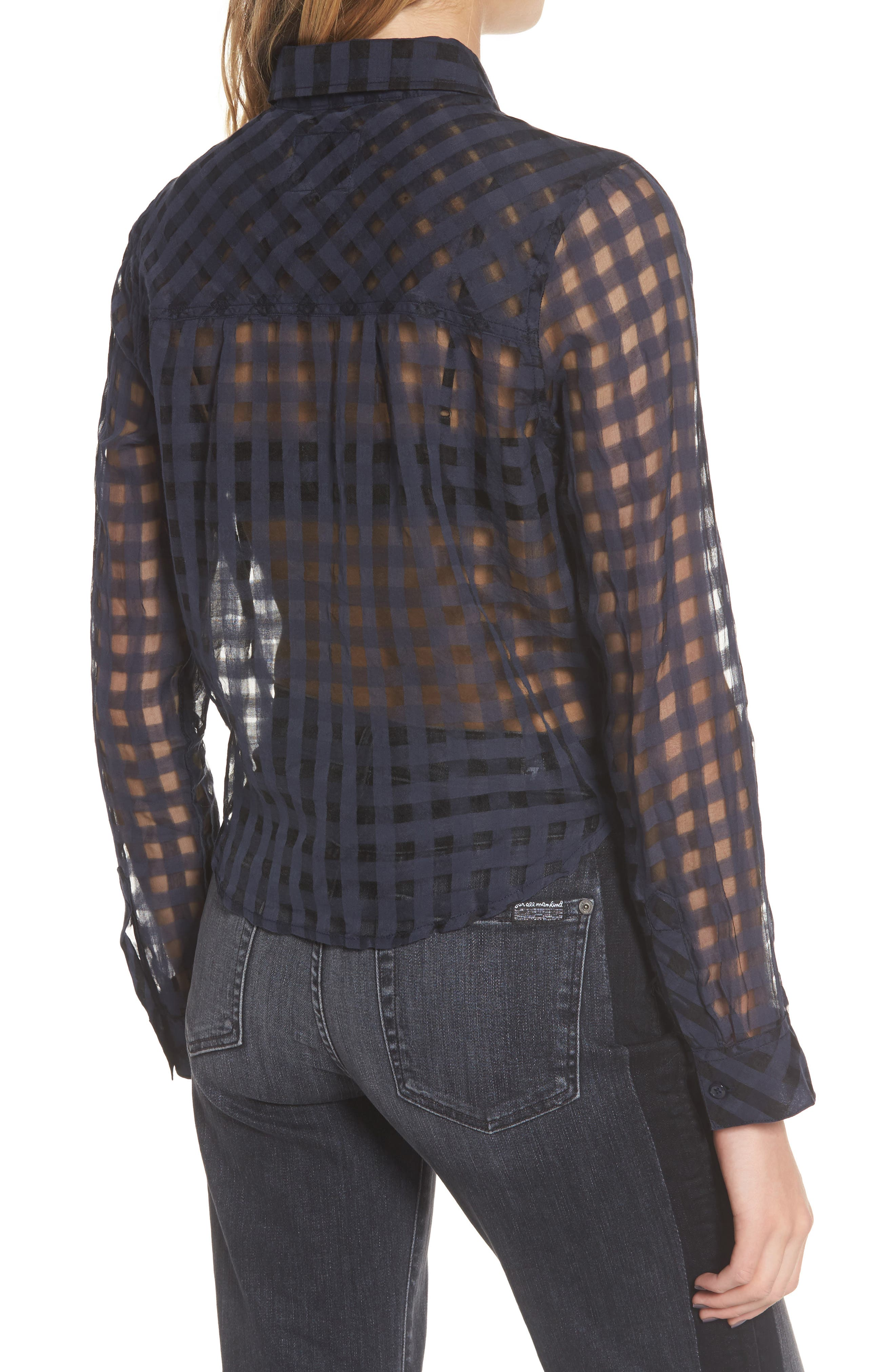 Kelsey Sheer Tie Front Shirt,                             Alternate thumbnail 2, color,                             Midnight Shadow Check