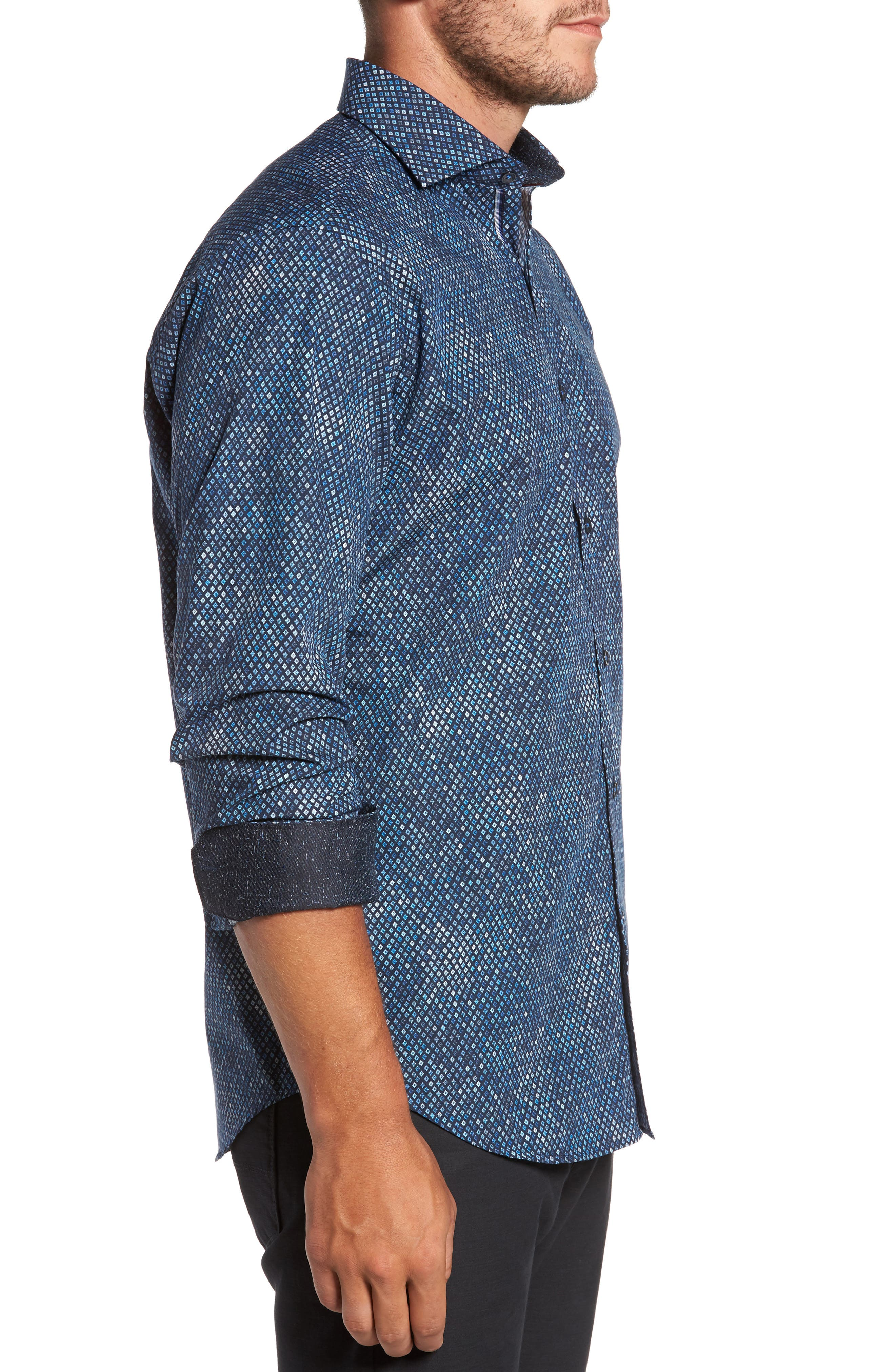 Classic Fit Print Sport Shirt,                             Alternate thumbnail 3, color,                             Midnight