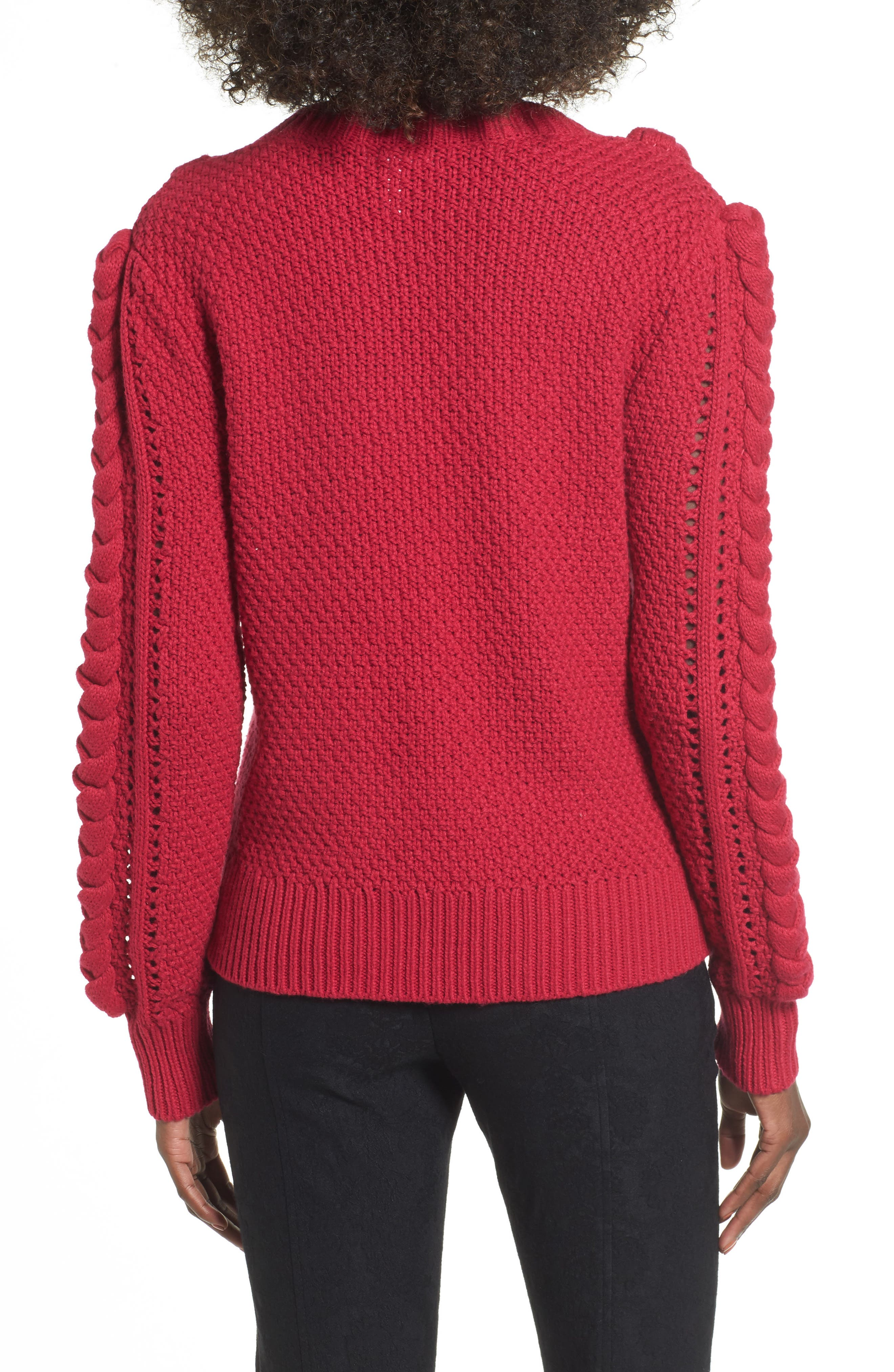 Power Cable Sweater,                             Alternate thumbnail 2, color,                             Red Cerise