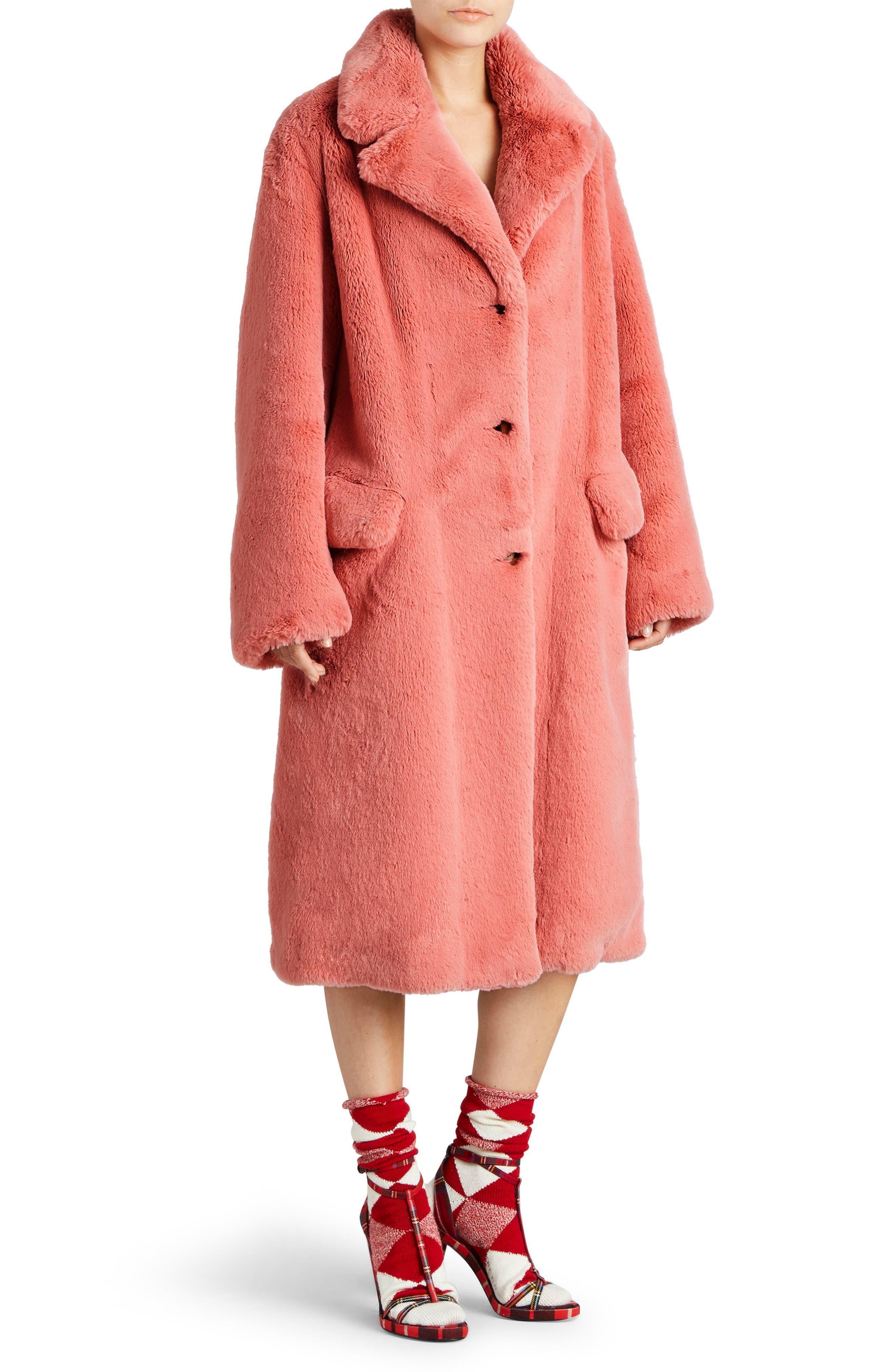 Faux Fur Coat,                             Alternate thumbnail 3, color,                             Pale Pink